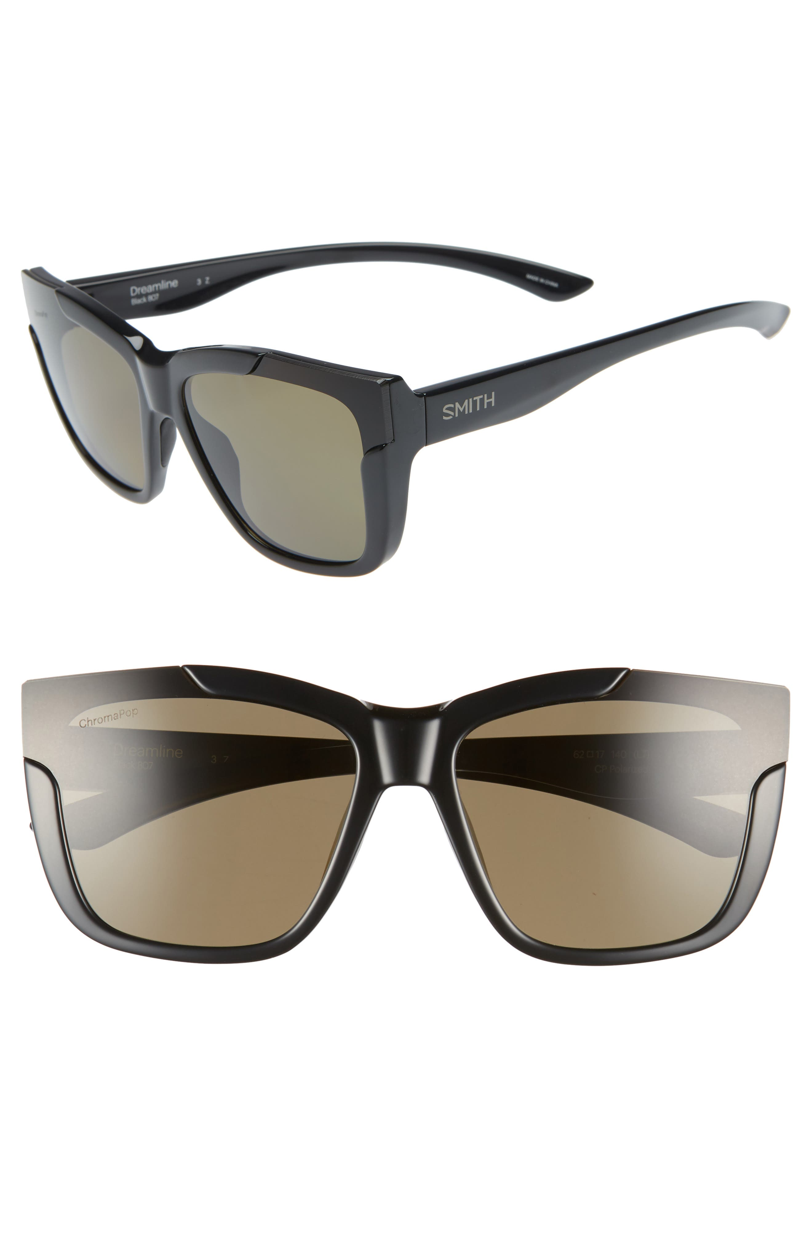 Dreamline 62mm Oversize Butterfly ChromaPop<sup>™</sup> Polarized Sunglasses, Main, color, BLACK
