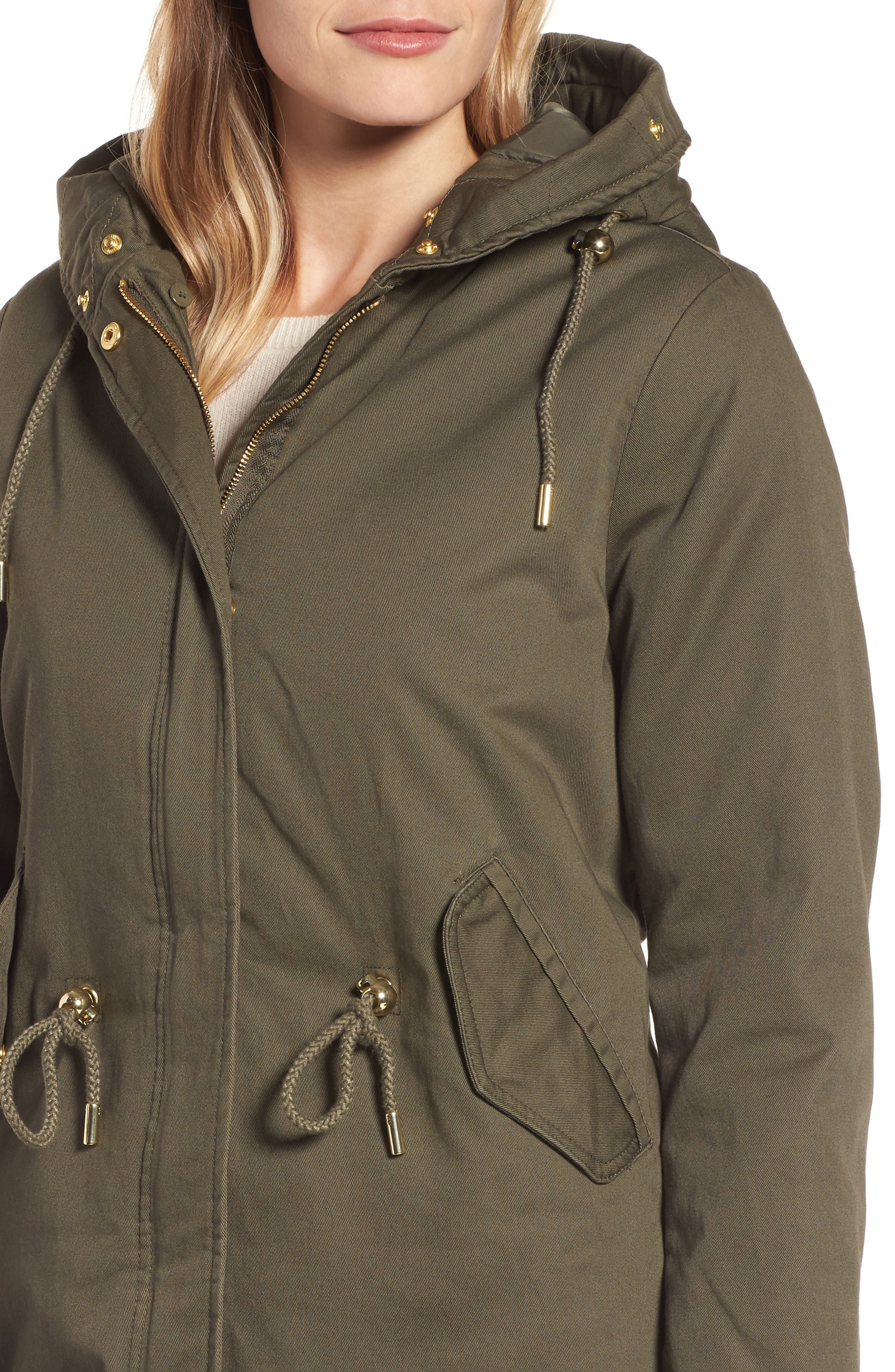 Faux Fur Lined Twill Parka,                             Alternate thumbnail 4, color,                             315