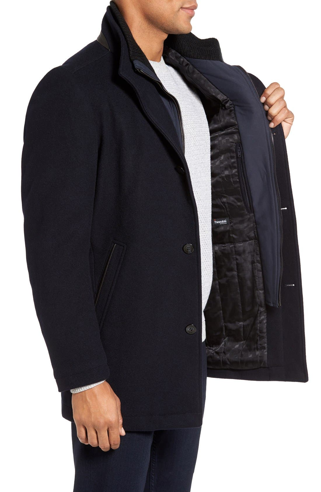 VINCE CAMUTO,                             Classic Wool Blend Car Coat with Inset Bib,                             Alternate thumbnail 4, color,                             NAVY