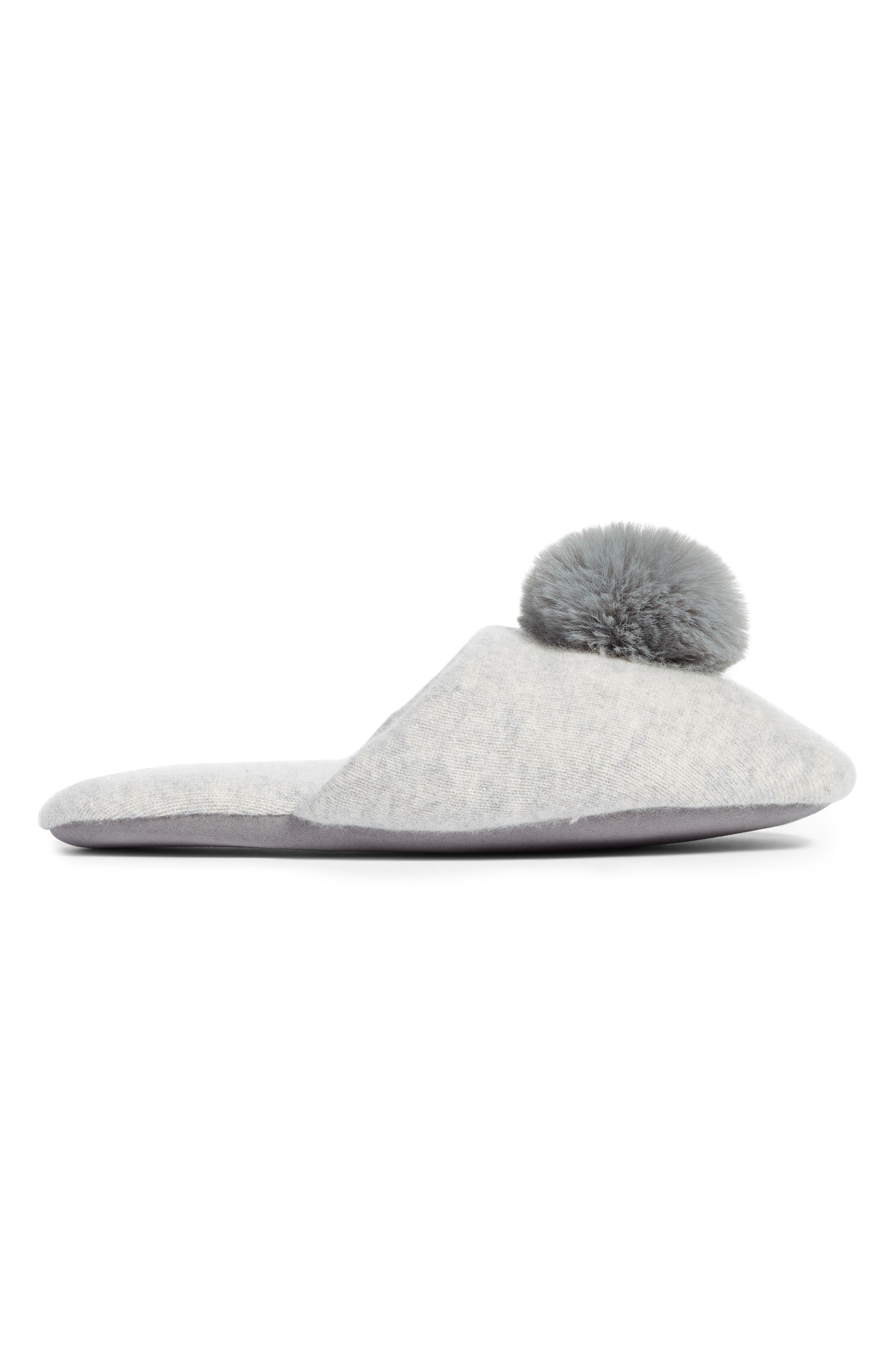 NORDSTROM,                             Wool & Cashmere Slippers with Faux Fur Pompom,                             Alternate thumbnail 3, color,                             GREY HEATHER