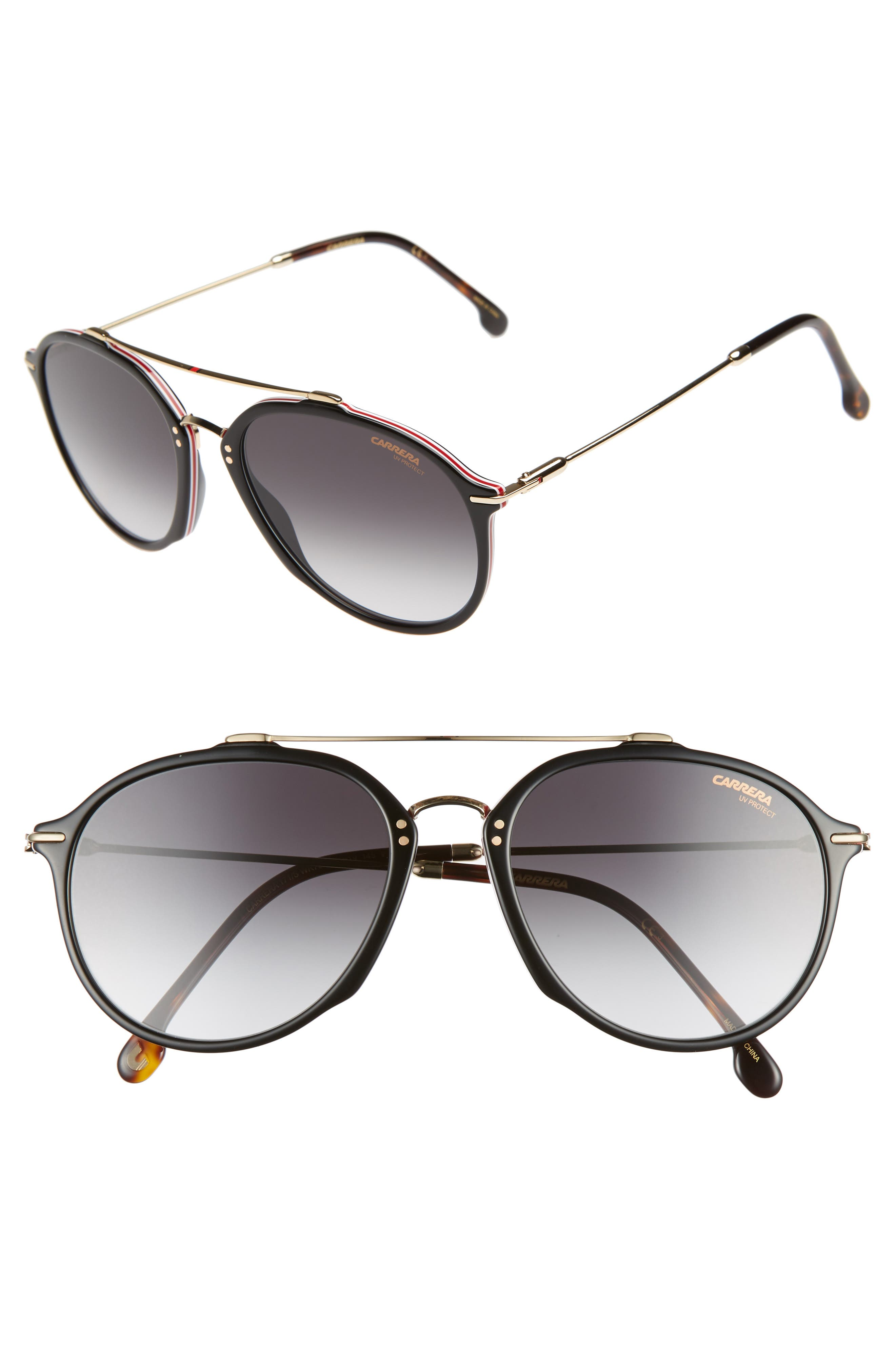 55mm Round Sunglasses,                             Main thumbnail 1, color,                             BLACK HAVANA