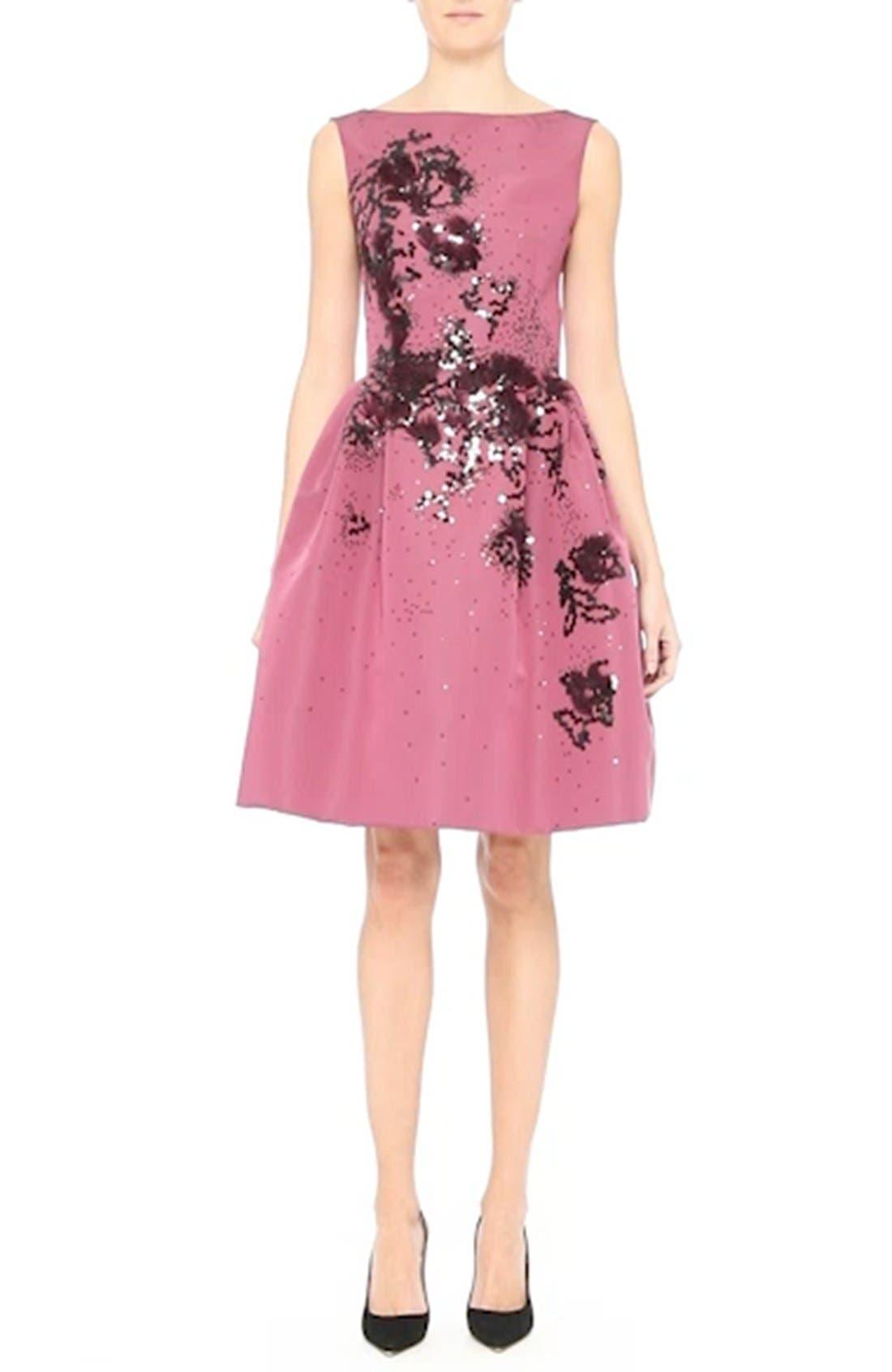 Embellished Silk Faille Dress,                             Alternate thumbnail 6, color,                             650