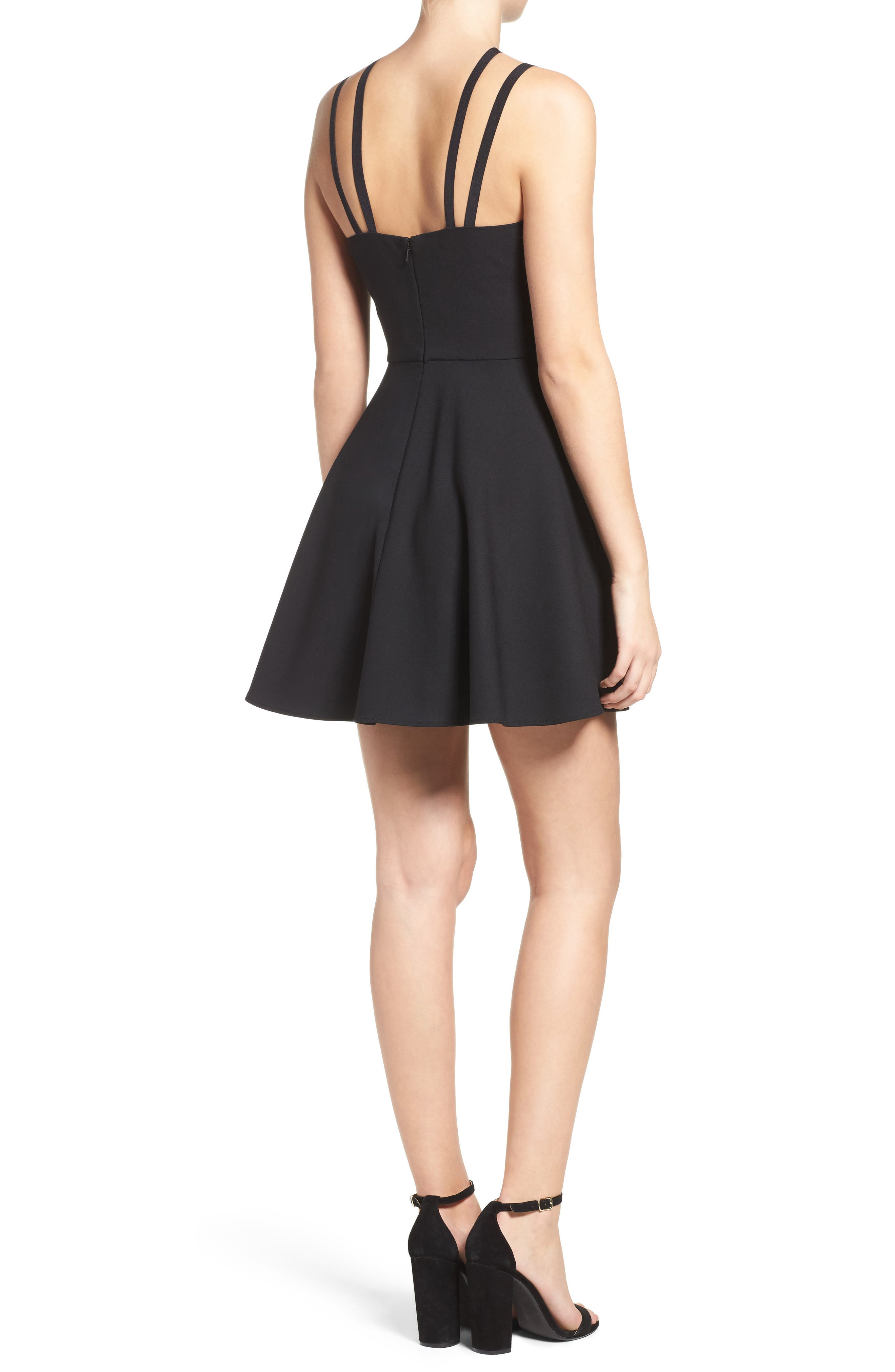 Whisper Light Fit & Flare Dress,                             Alternate thumbnail 2, color,                             BLACK
