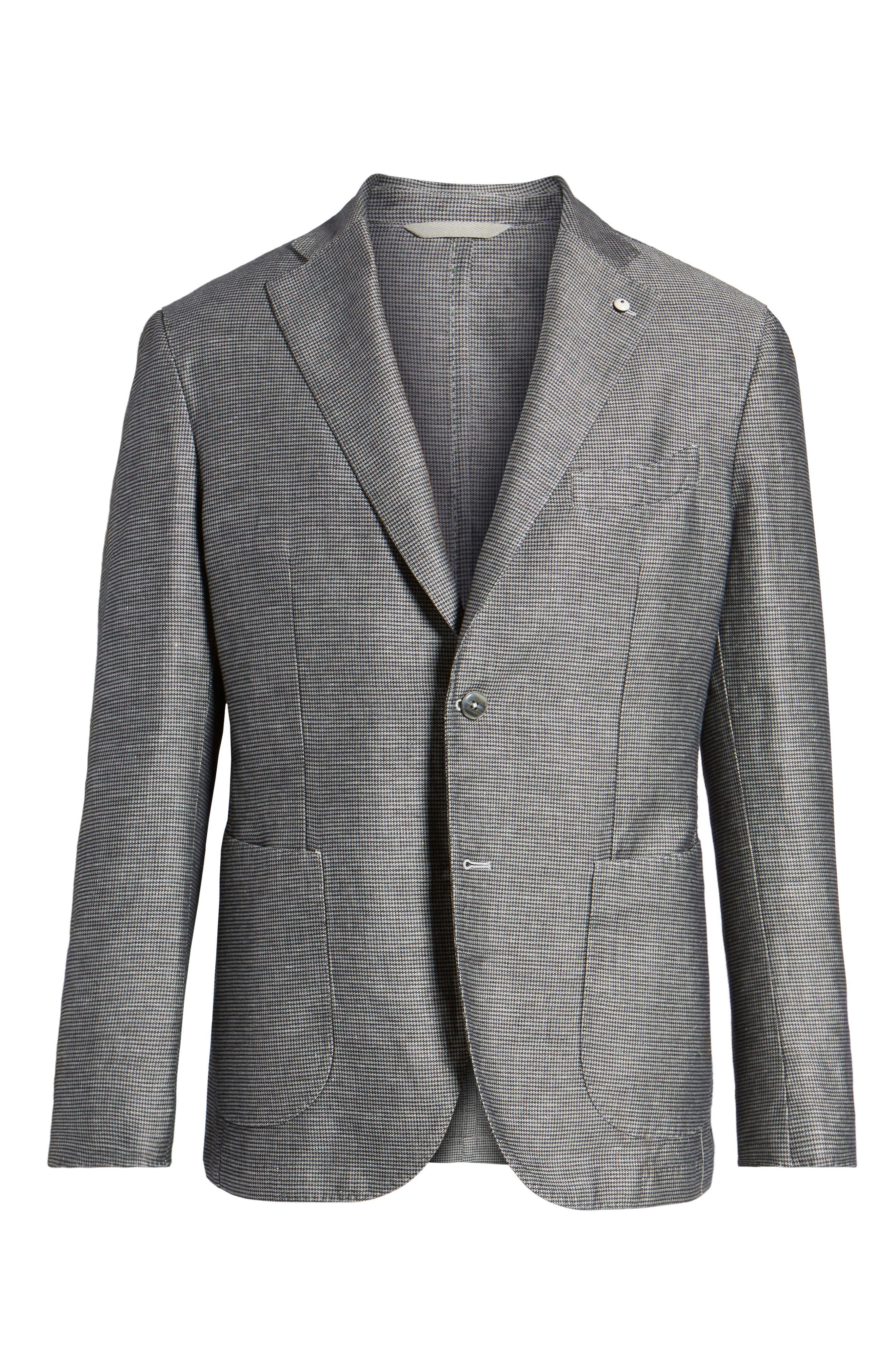 Classic Fit Houndstooth Linen & Cotton Sport Coat,                             Alternate thumbnail 5, color,                             005