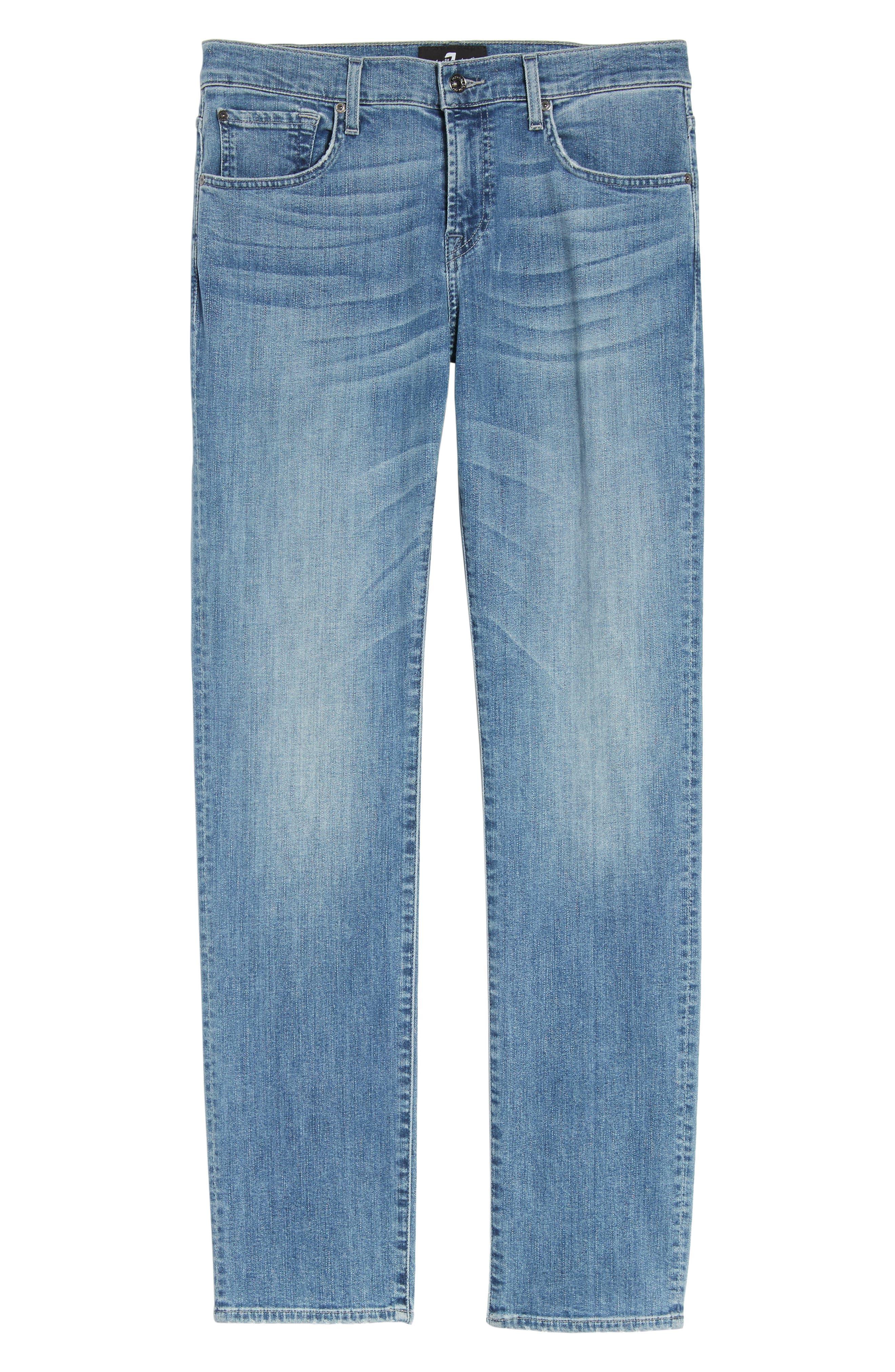 7 For All Mankind Slim Straight Leg Jeans,                             Alternate thumbnail 6, color,                             400