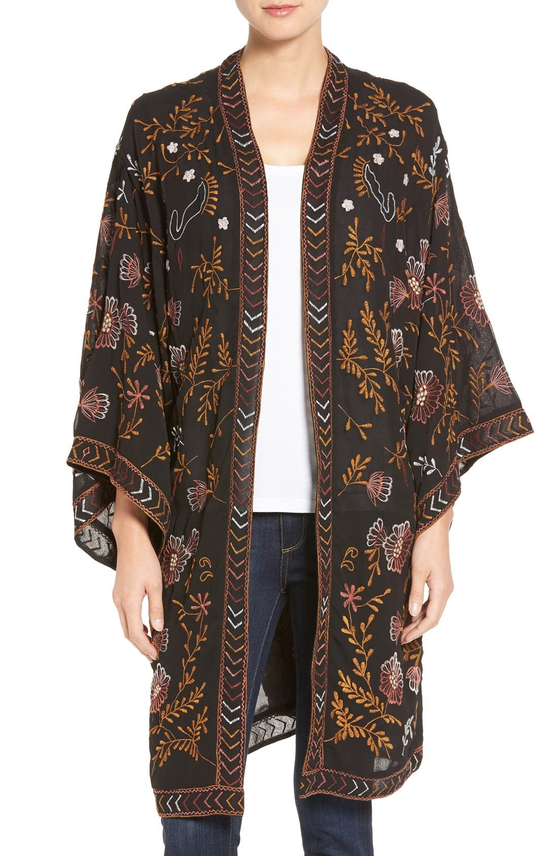 WILLOW & CLAY,                             Embroidered Kimono,                             Main thumbnail 1, color,                             001