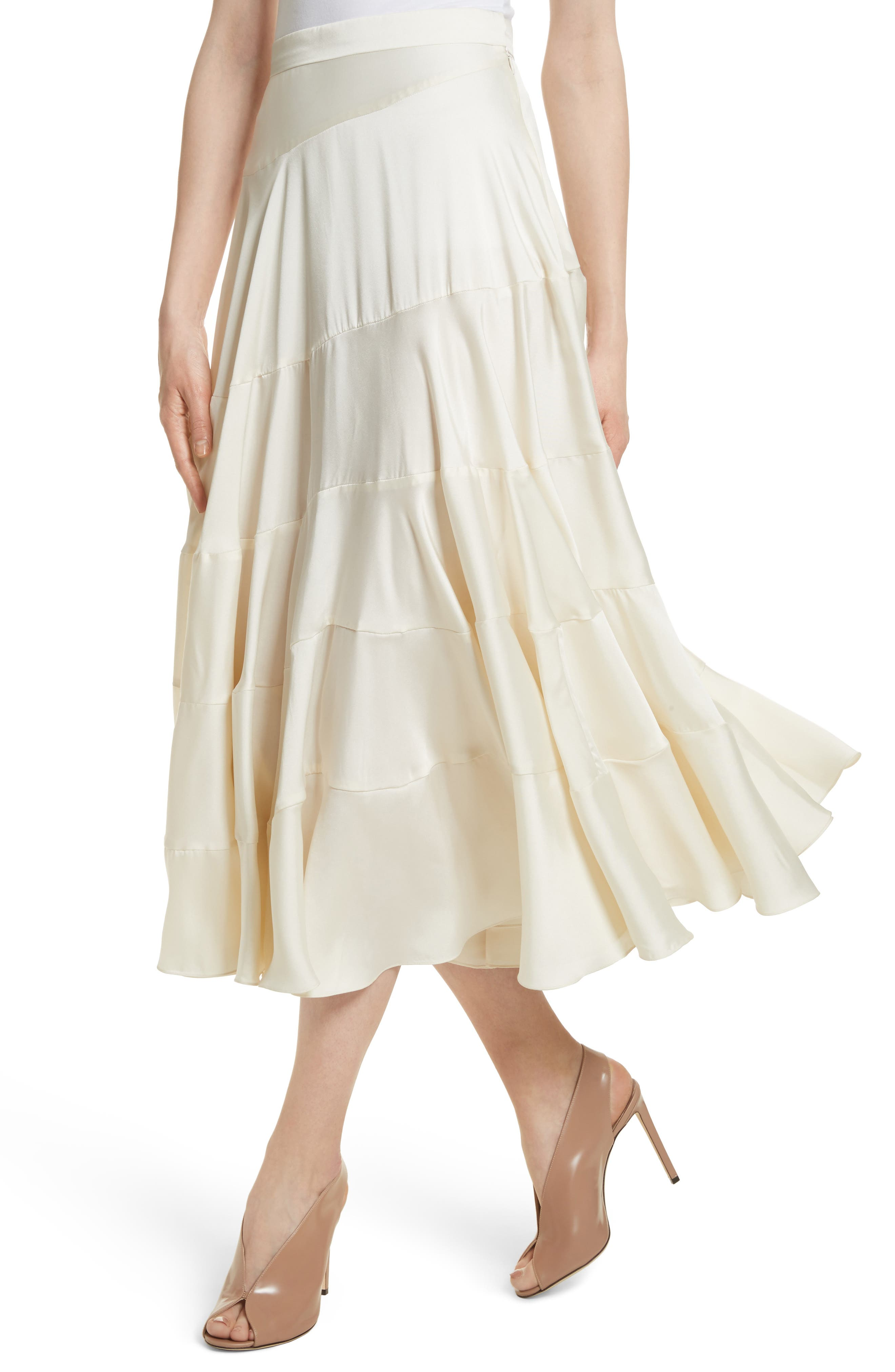 Lasse Satin Paneled Midi Skirt,                             Alternate thumbnail 4, color,                             103