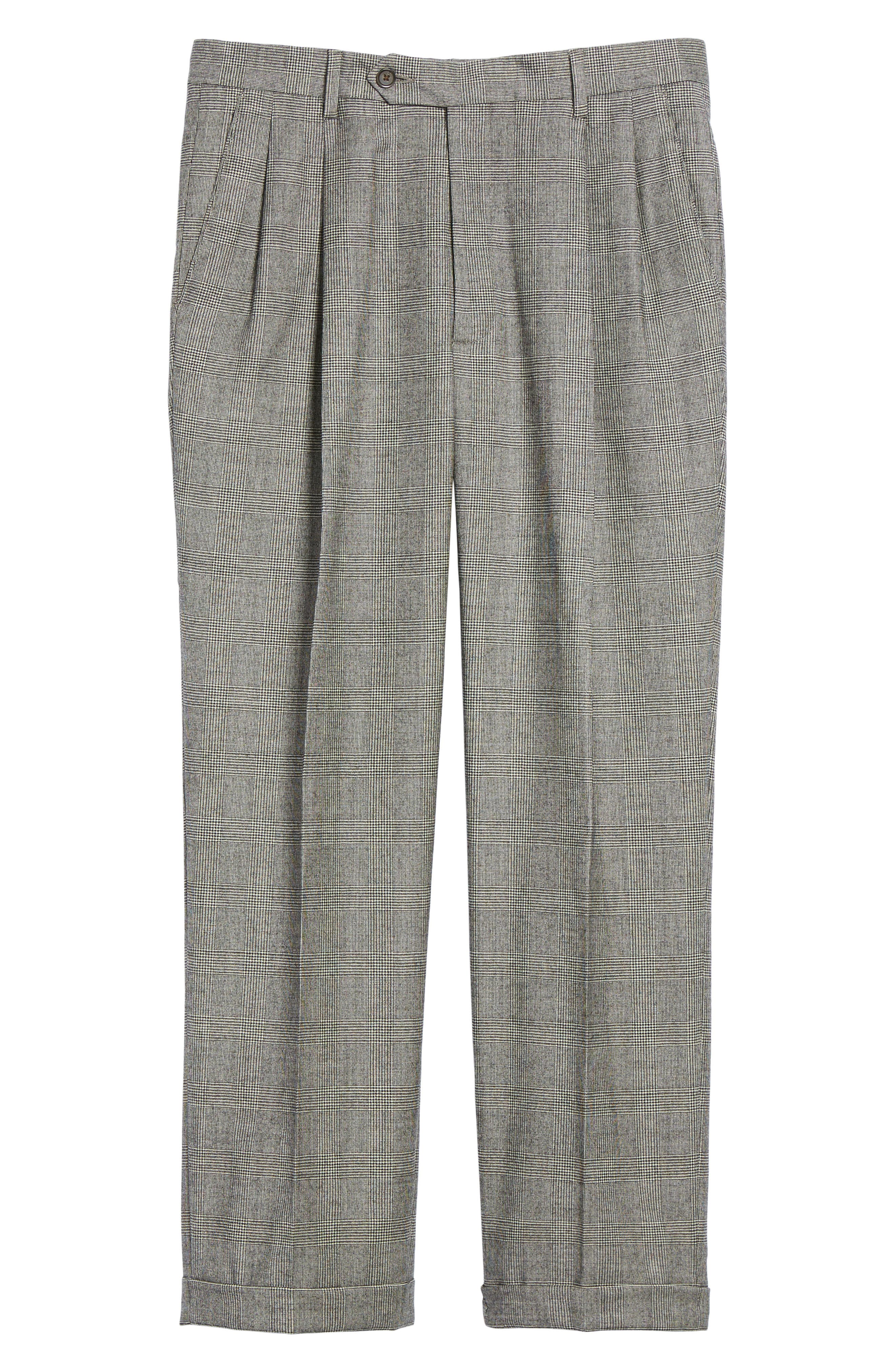 Pleated Stretch Plaid Wool Trousers,                             Alternate thumbnail 6, color,                             BLACK/ WHITE