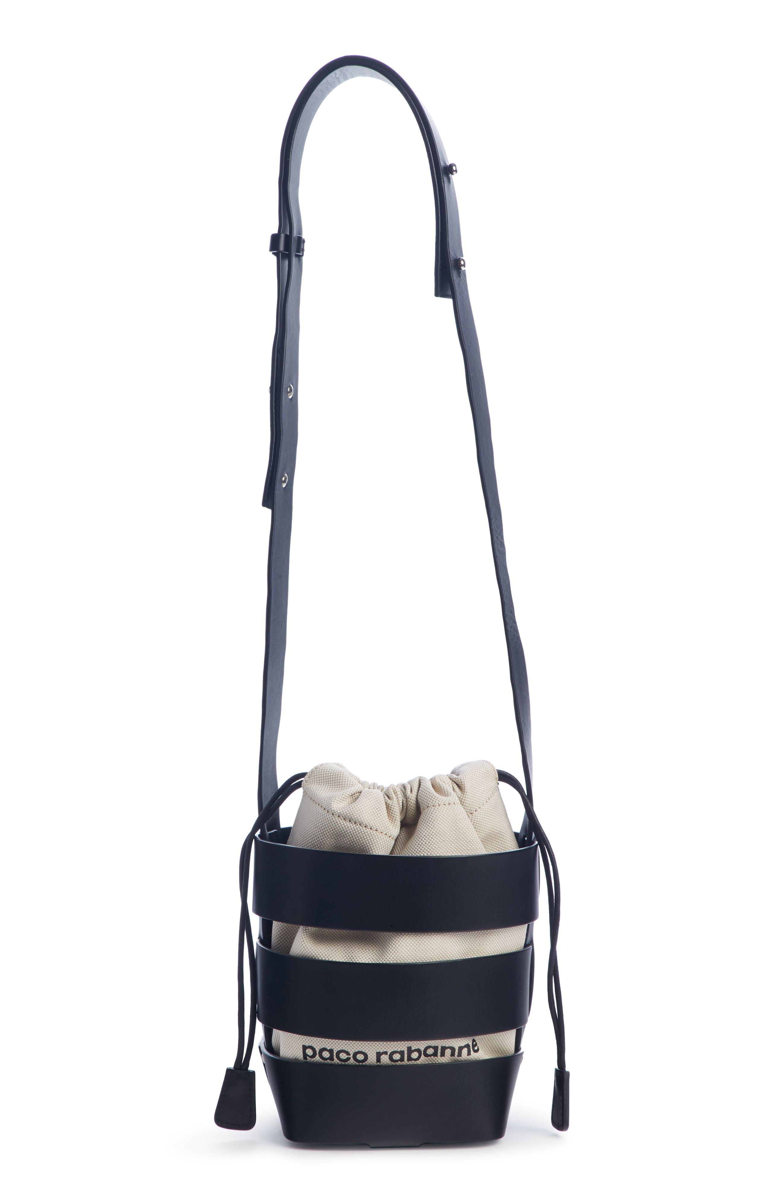 Mini Cage Leather & Canvas Hobo, Main, color, BLACK