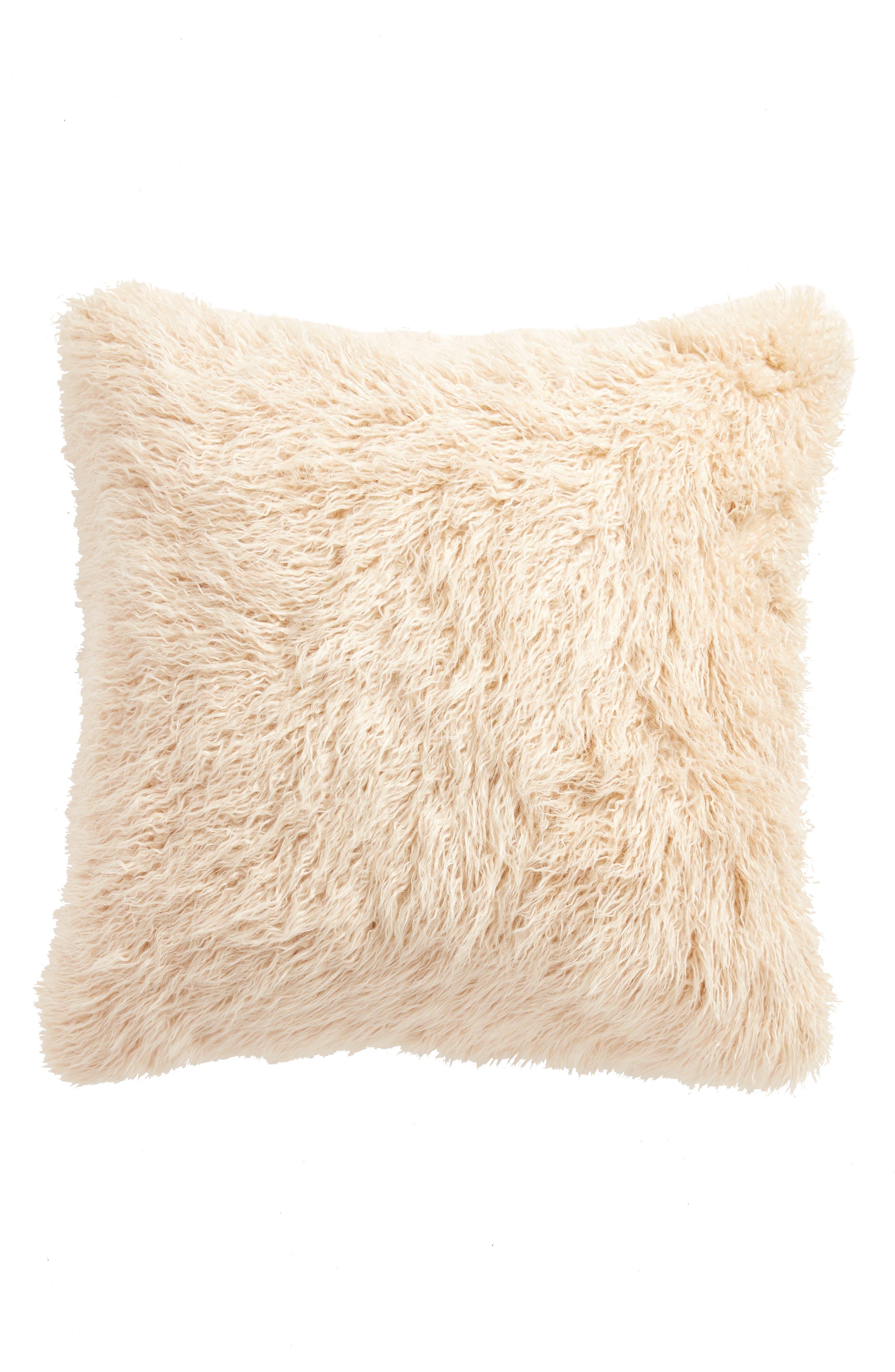 TREASURE & BOND,                             Curly Faux Fur Pillow,                             Alternate thumbnail 2, color,                             BEIGE BEACH