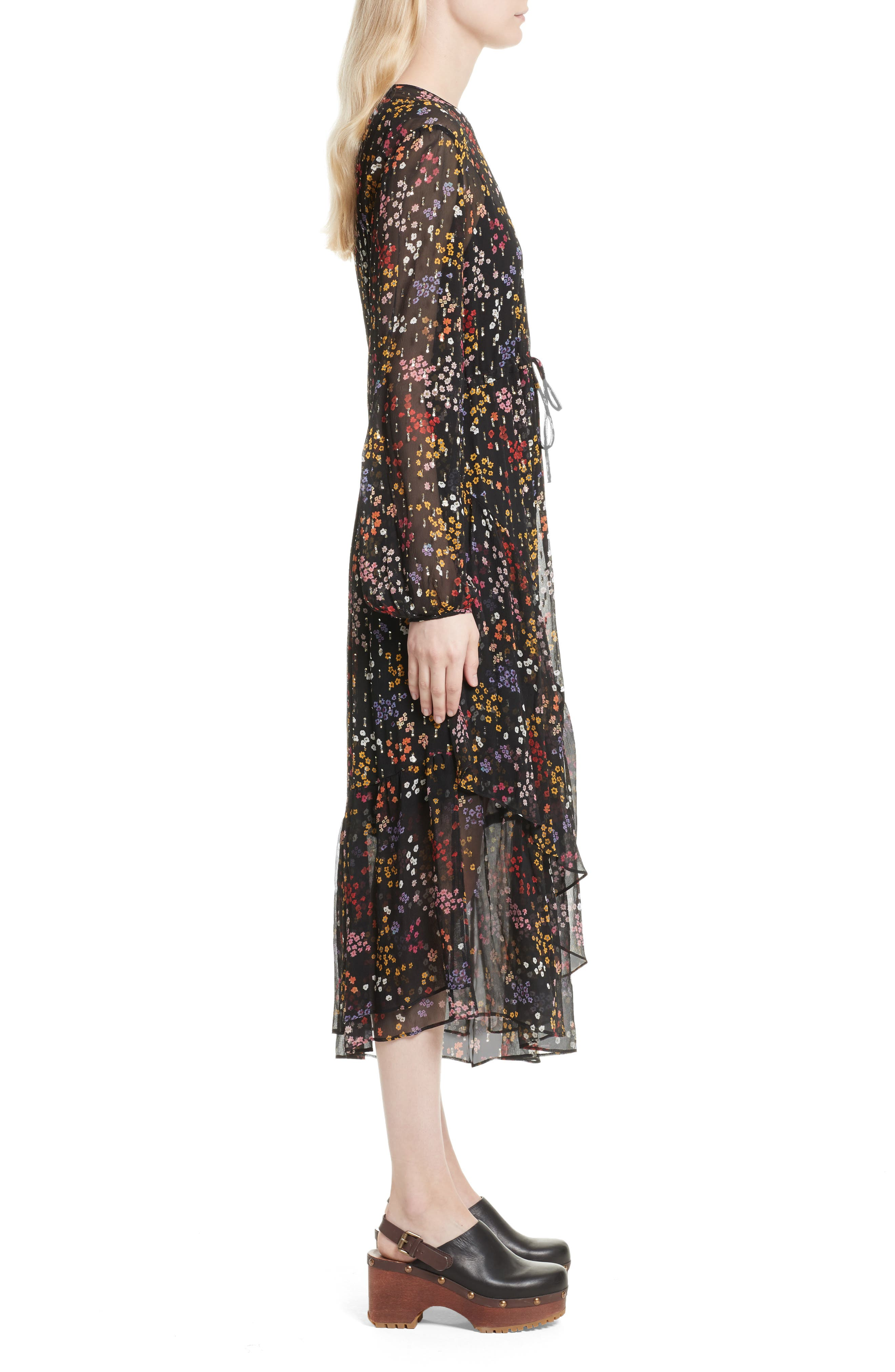 Floral Print Metallic Silk Midi Dress,                             Alternate thumbnail 3, color,