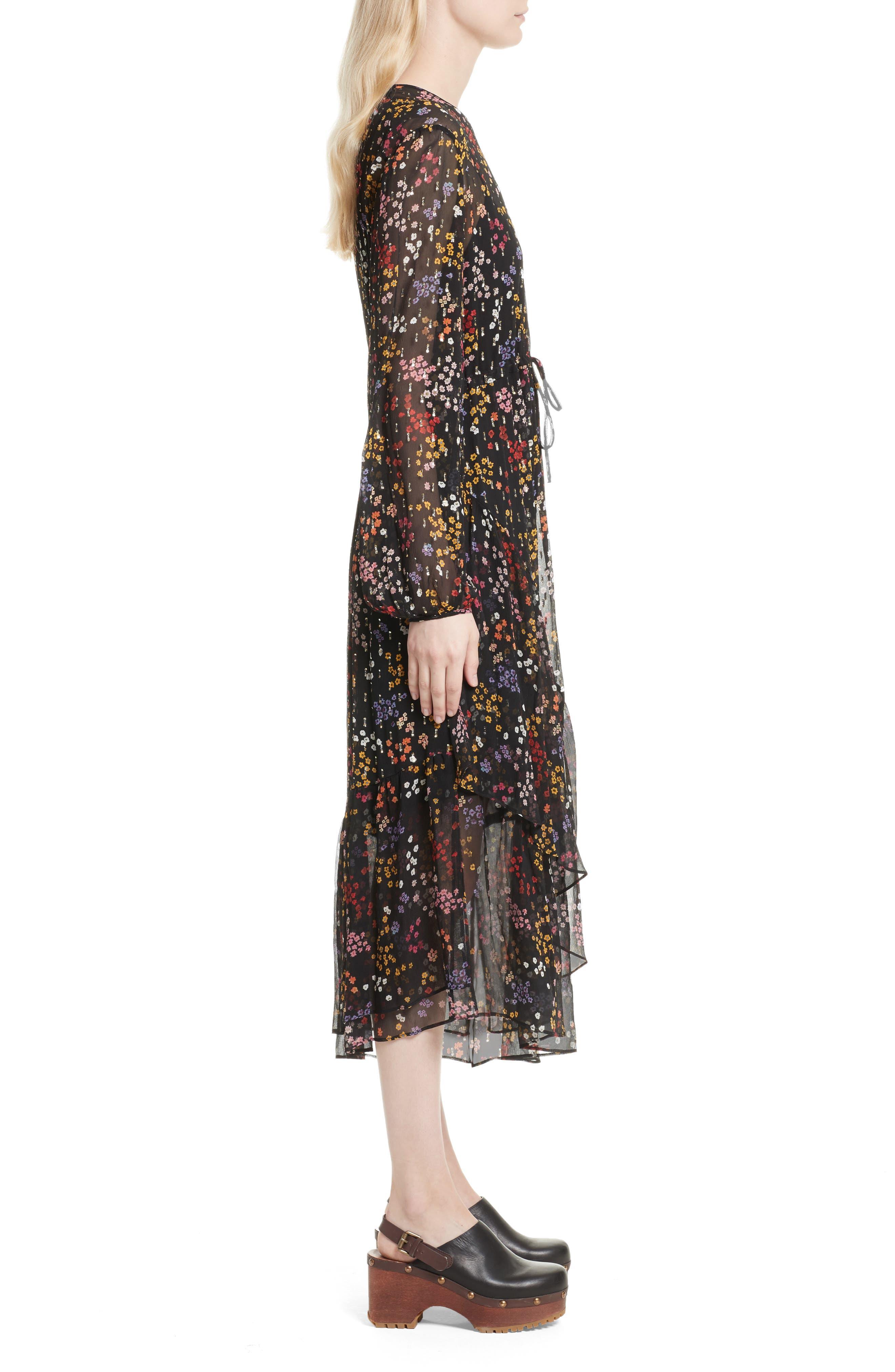 Floral Print Metallic Silk Midi Dress,                             Alternate thumbnail 3, color,                             001
