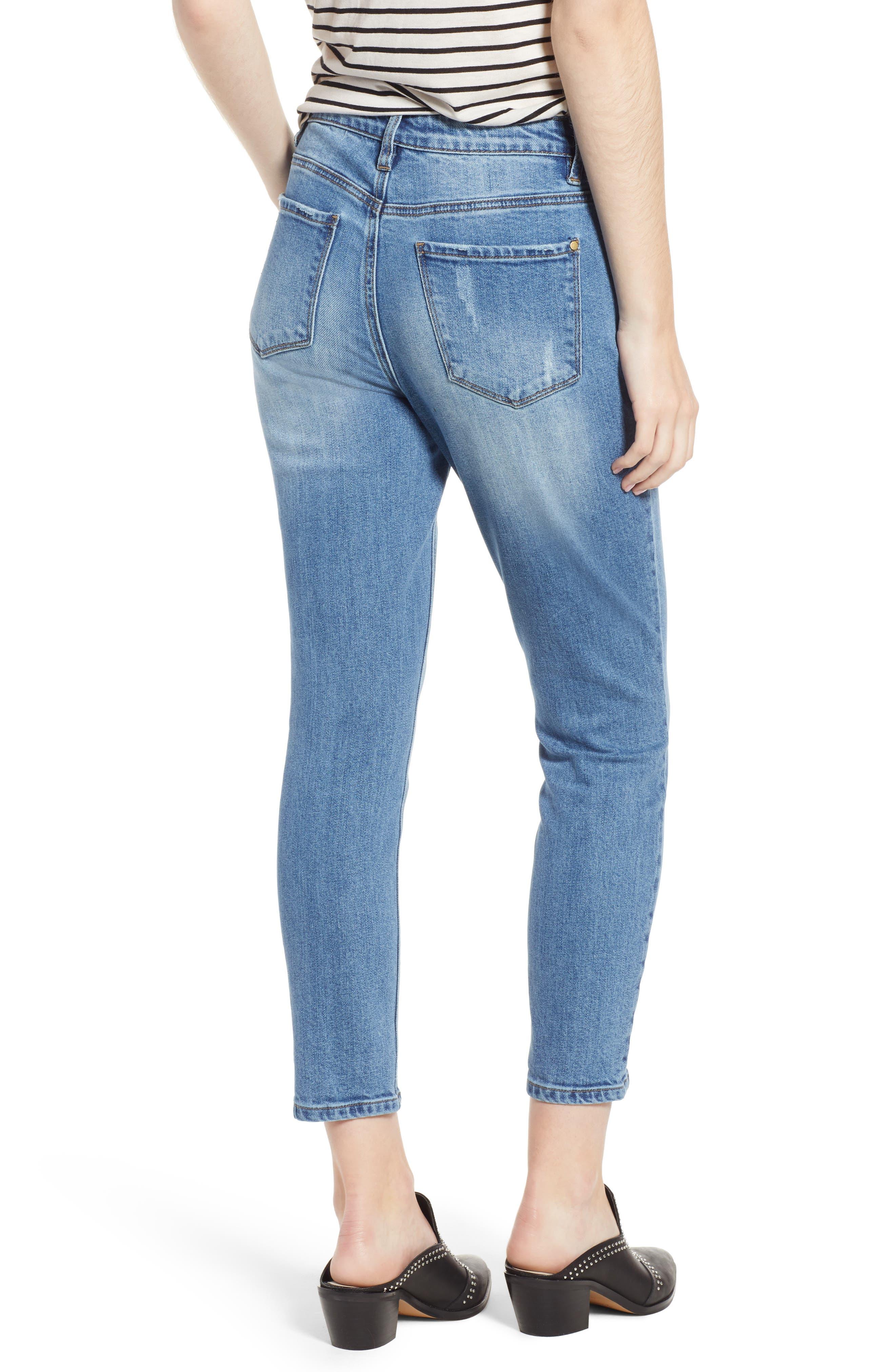 High Waist Ankle Slit Skinny Jeans,                             Alternate thumbnail 2, color,