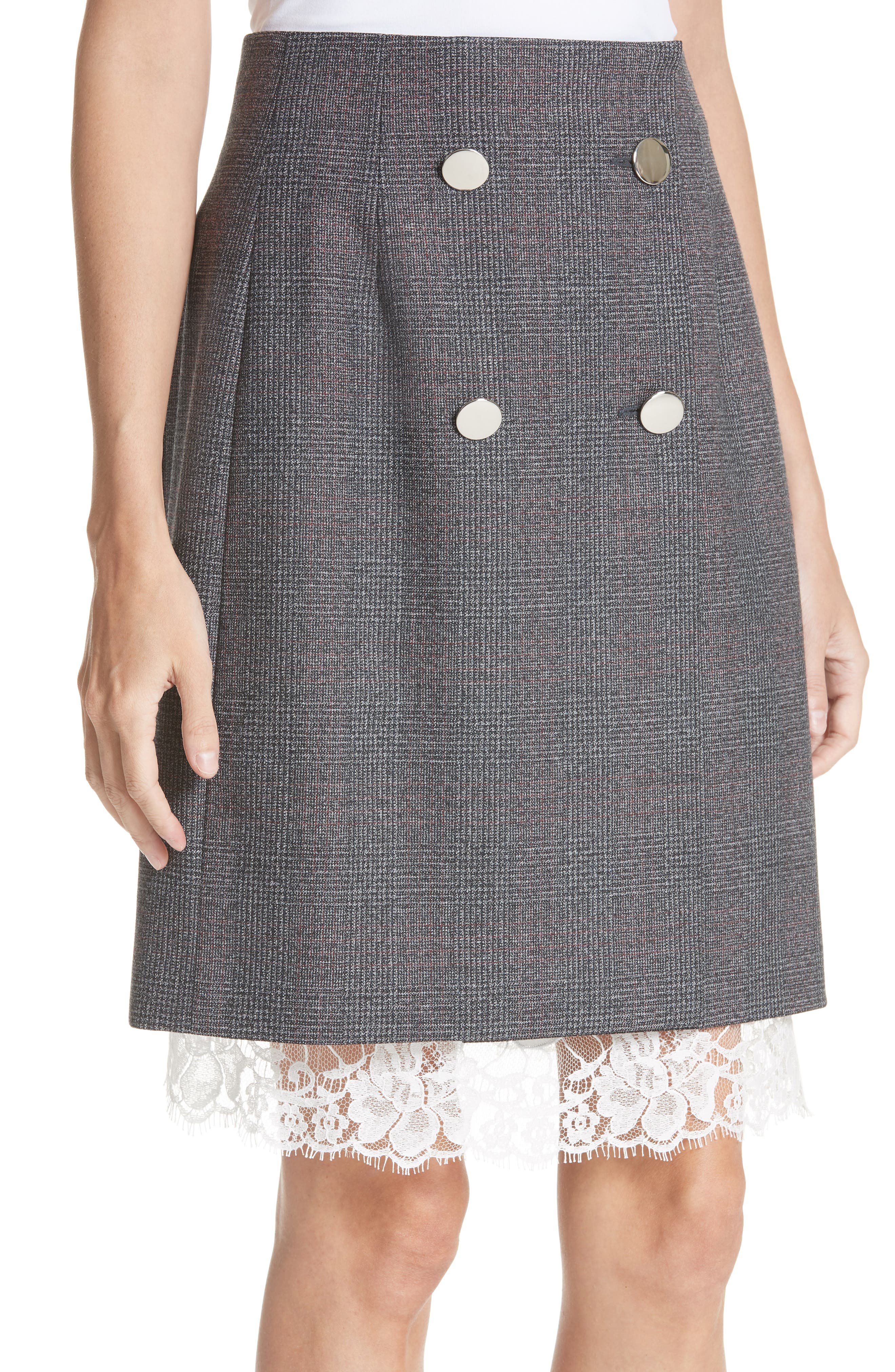 Lace Trim Wool Skirt,                             Alternate thumbnail 5, color,                             DARK GREY GRENADINE