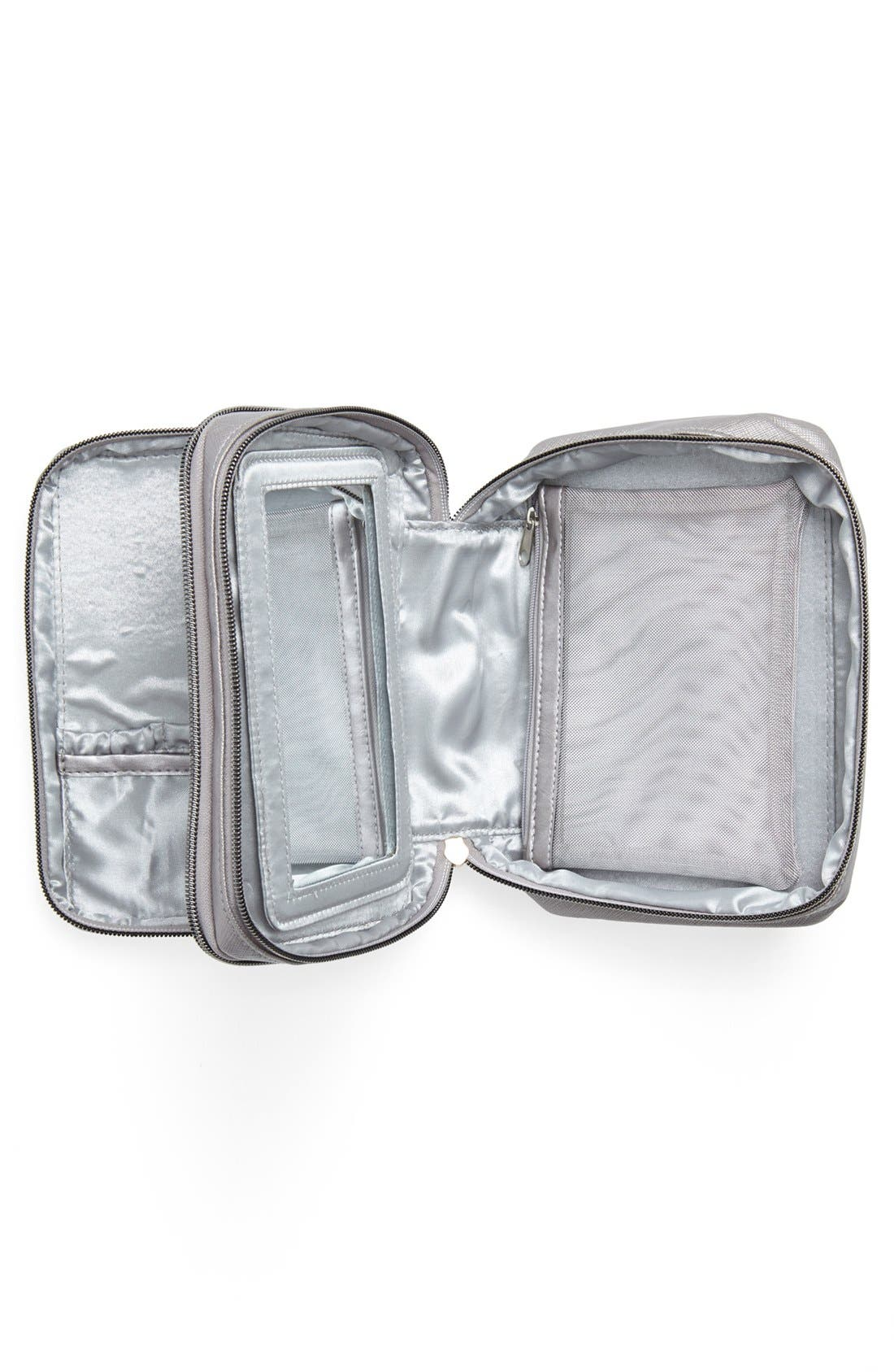 Deluxe Mirrored Cosmetics Bag,                             Alternate thumbnail 3, color,                             000
