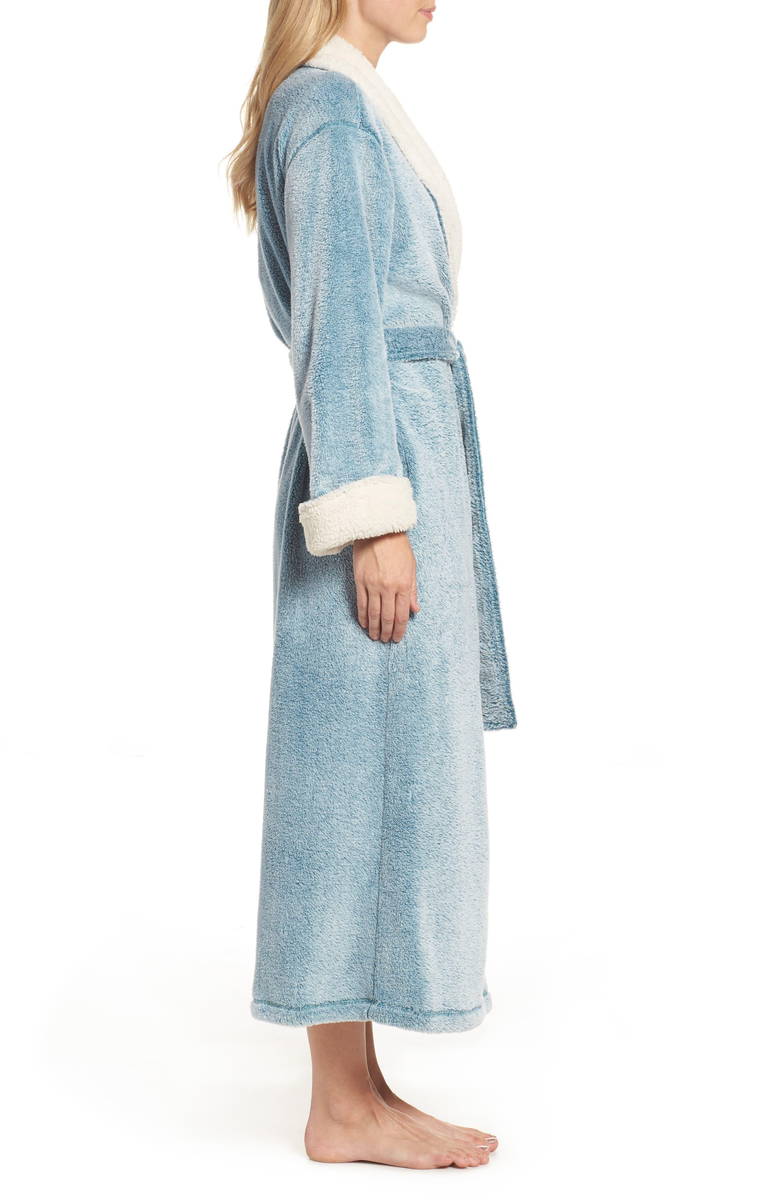 Plush Velour Robe,                             Alternate thumbnail 3, color,                             LIGHT BLUE
