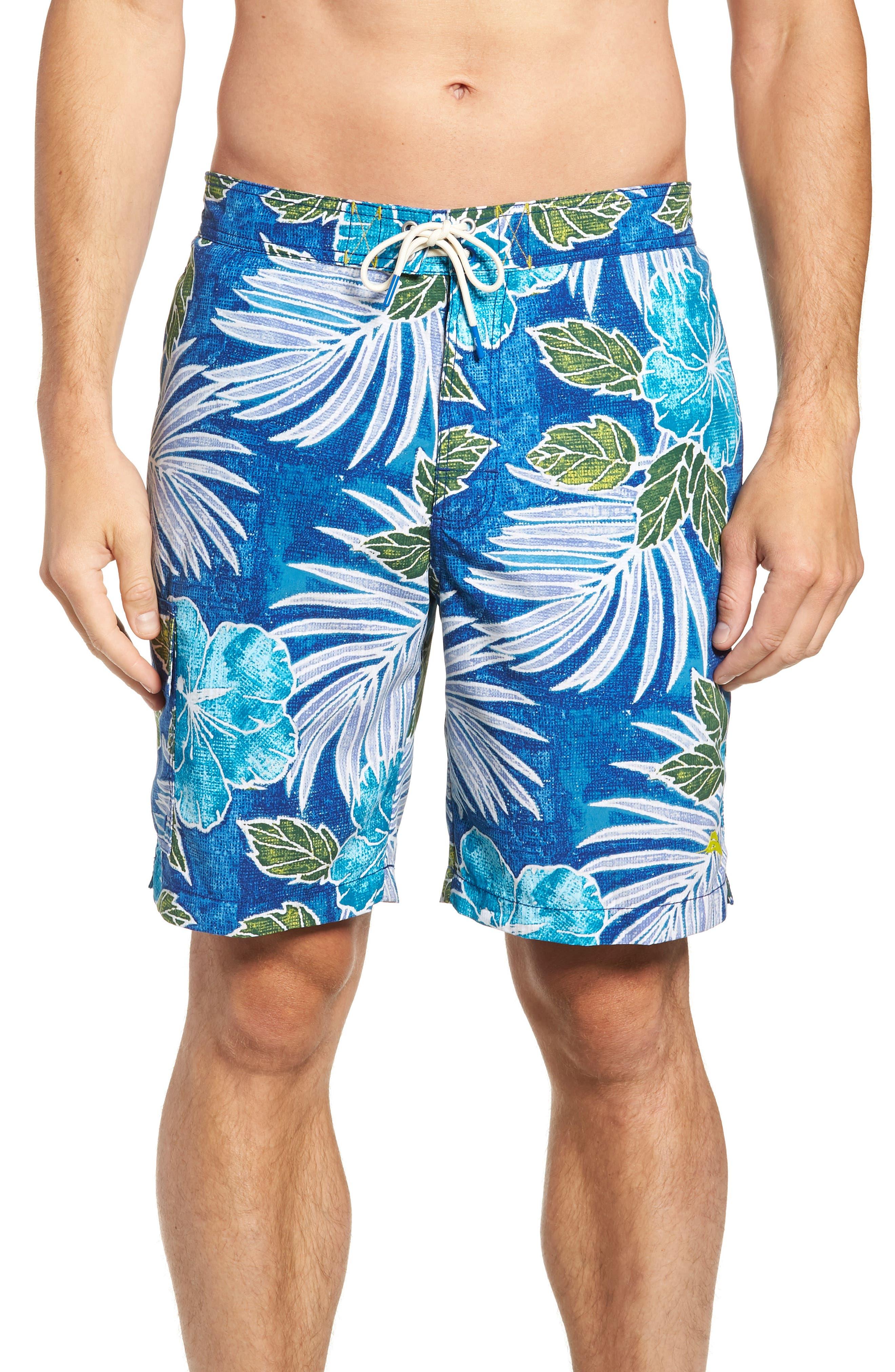 Baja Hibiscus Cove Board Shorts,                         Main,                         color, DARK COBALT