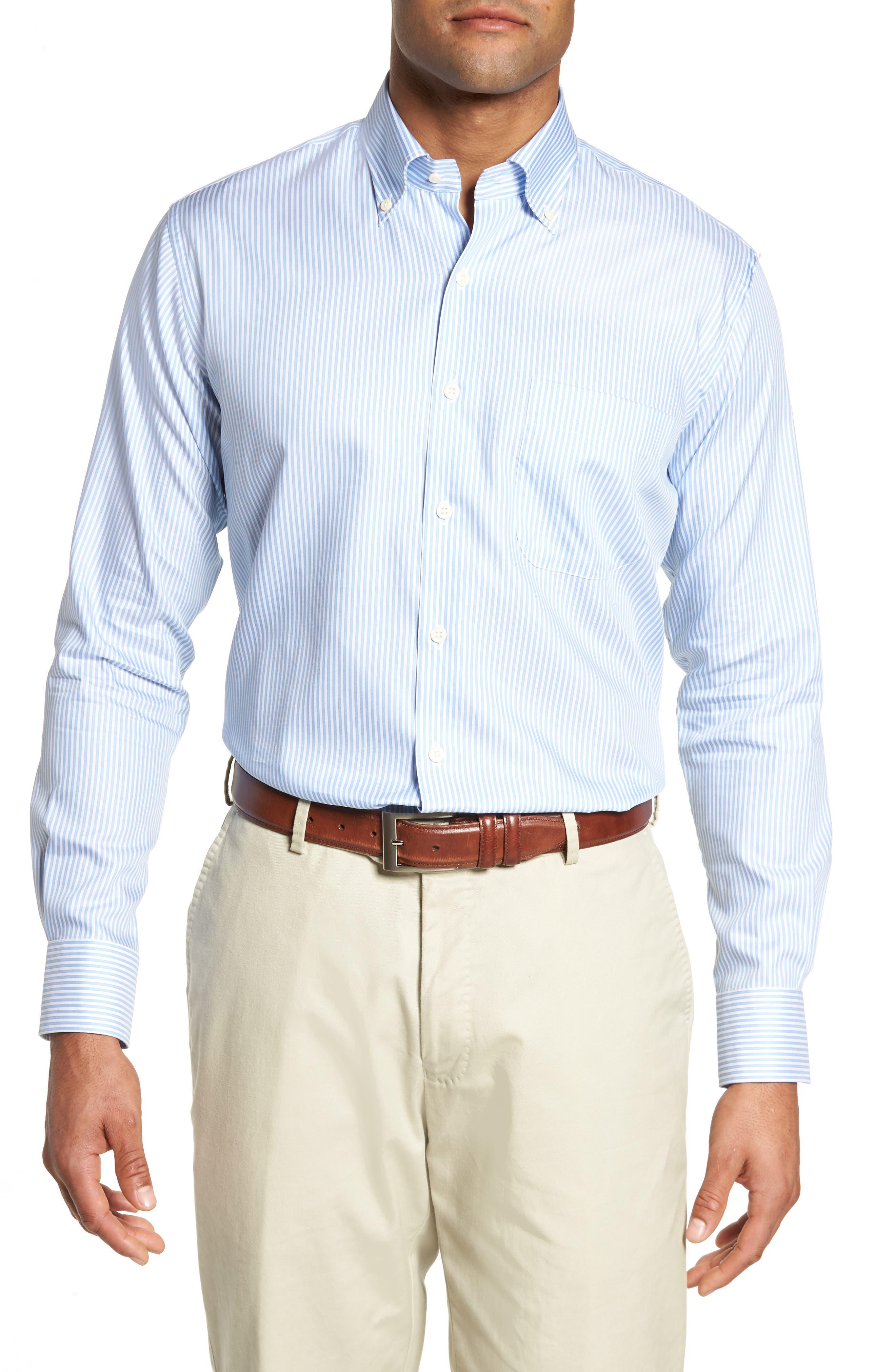 Classic Fit Crown Soft Longshot Stripe Sport Shirt,                         Main,                         color, 439