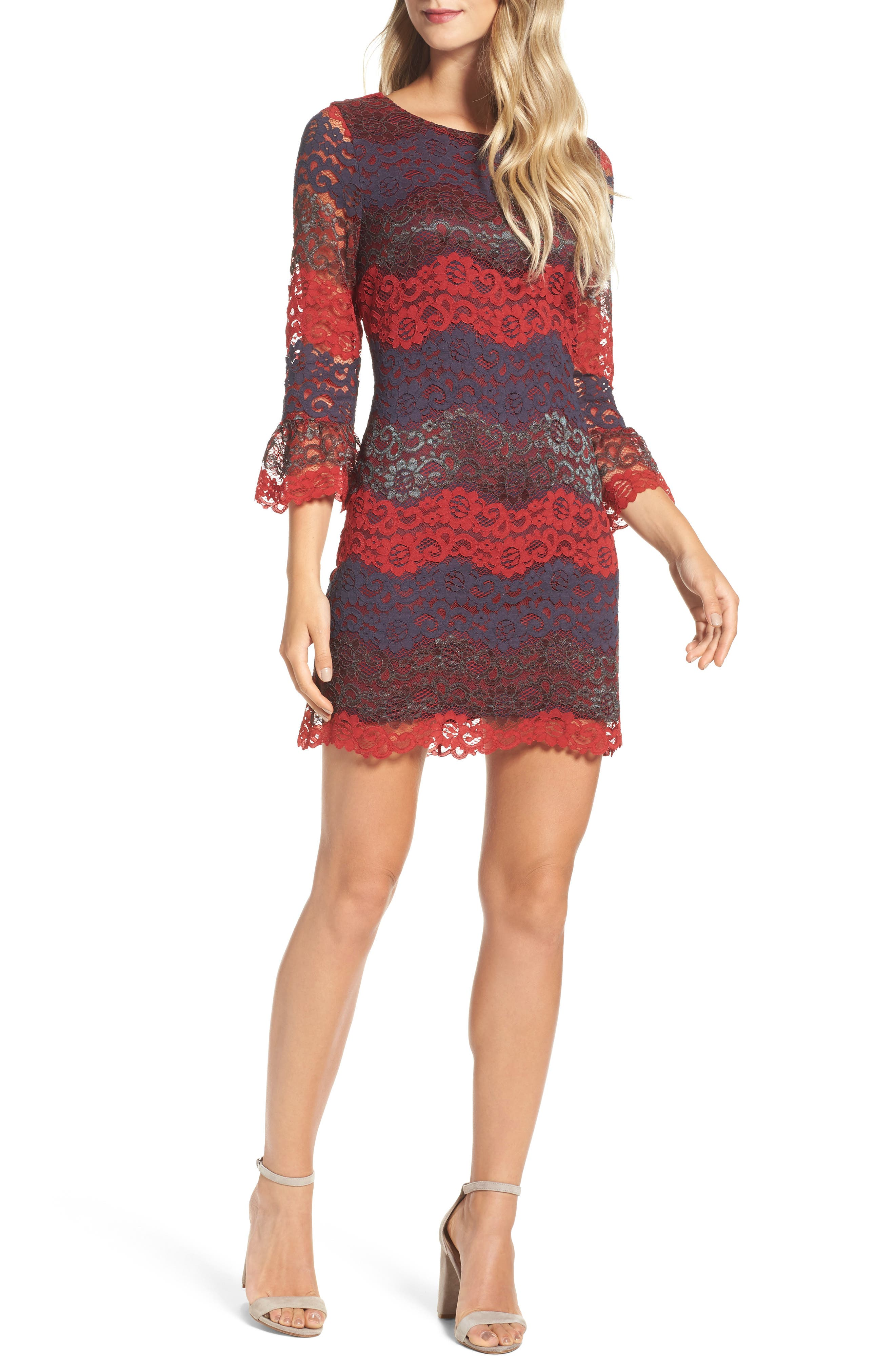 Lace Bell Sleeve Dress,                             Main thumbnail 3, color,