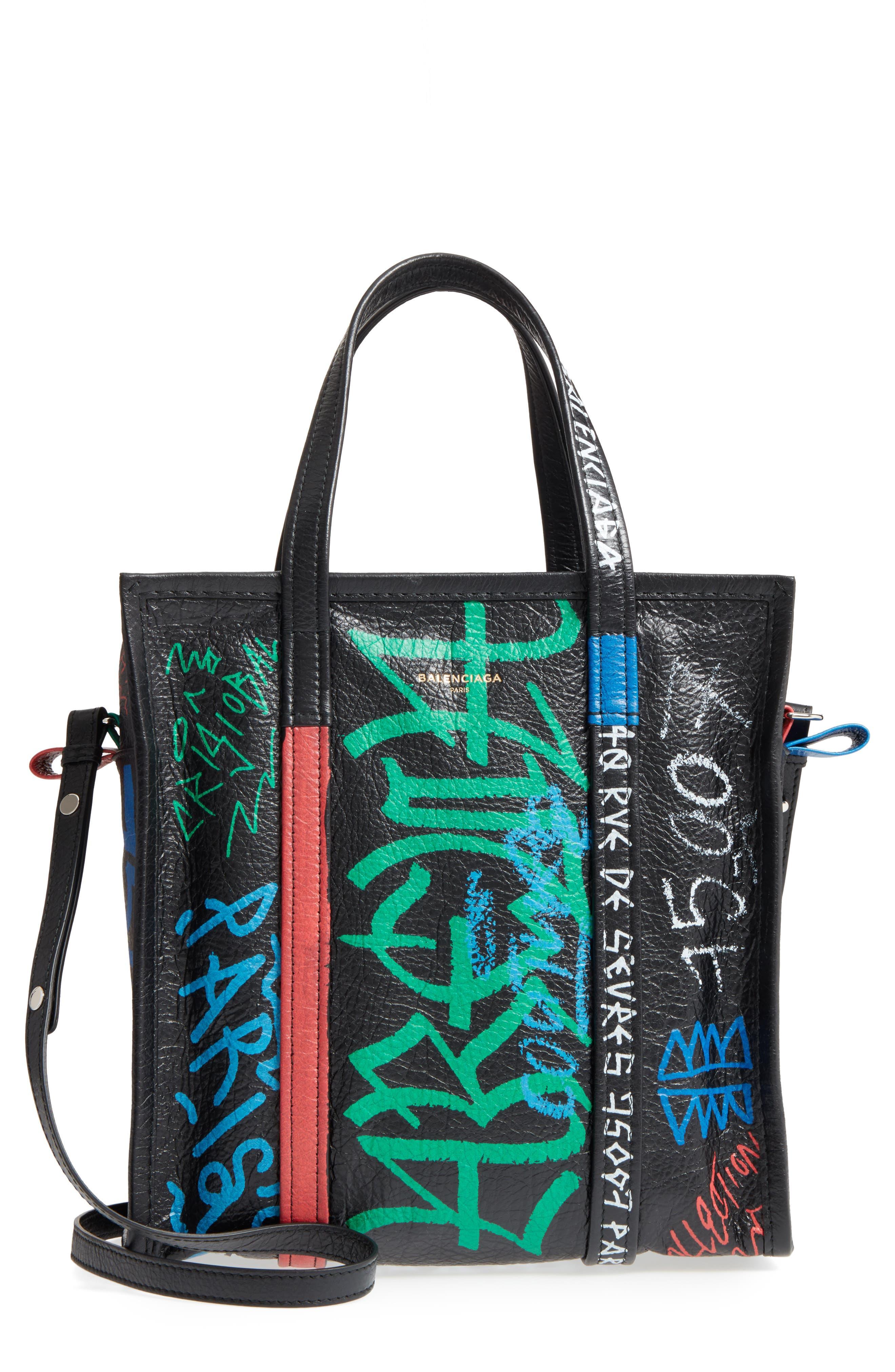 Small Bazar Grafitti Leather Shopper,                             Main thumbnail 1, color,                             NOIR/ COLOR