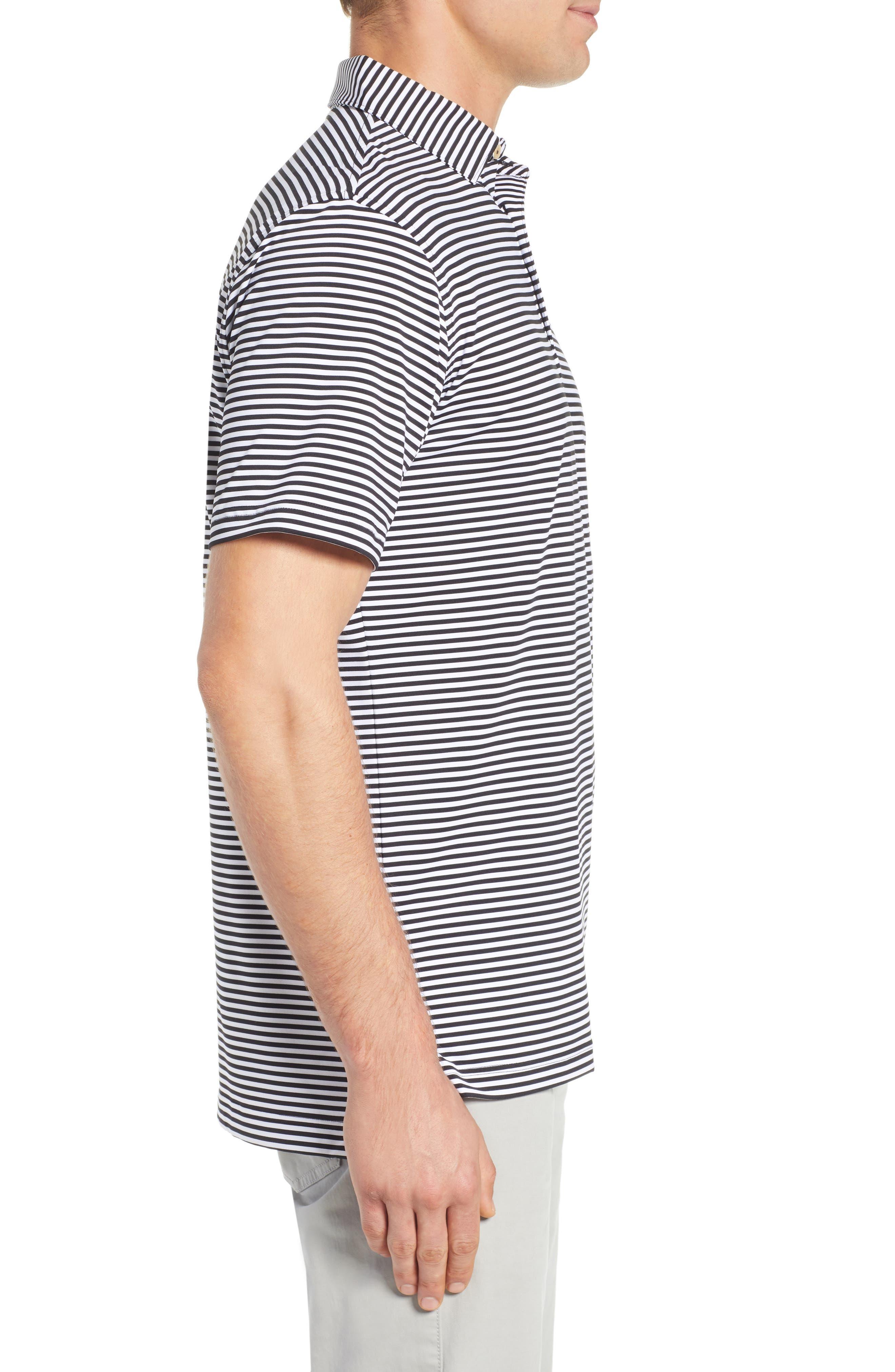 Stripe Stretch Jersey Performance Polo,                             Alternate thumbnail 3, color,                             BLACK/WHITE