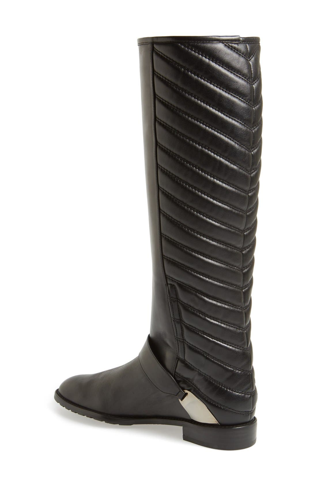 'Raceway' Quilted Shaft Riding Boot,                             Alternate thumbnail 2, color,                             001