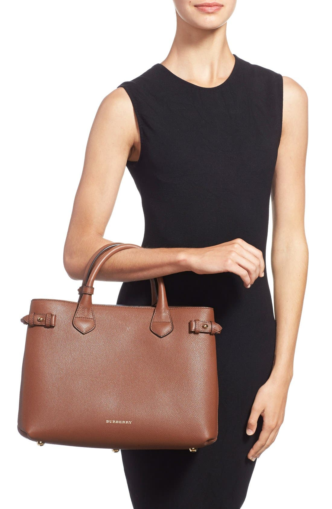 Medium Banner House Check Leather Tote,                             Alternate thumbnail 3, color,                             251