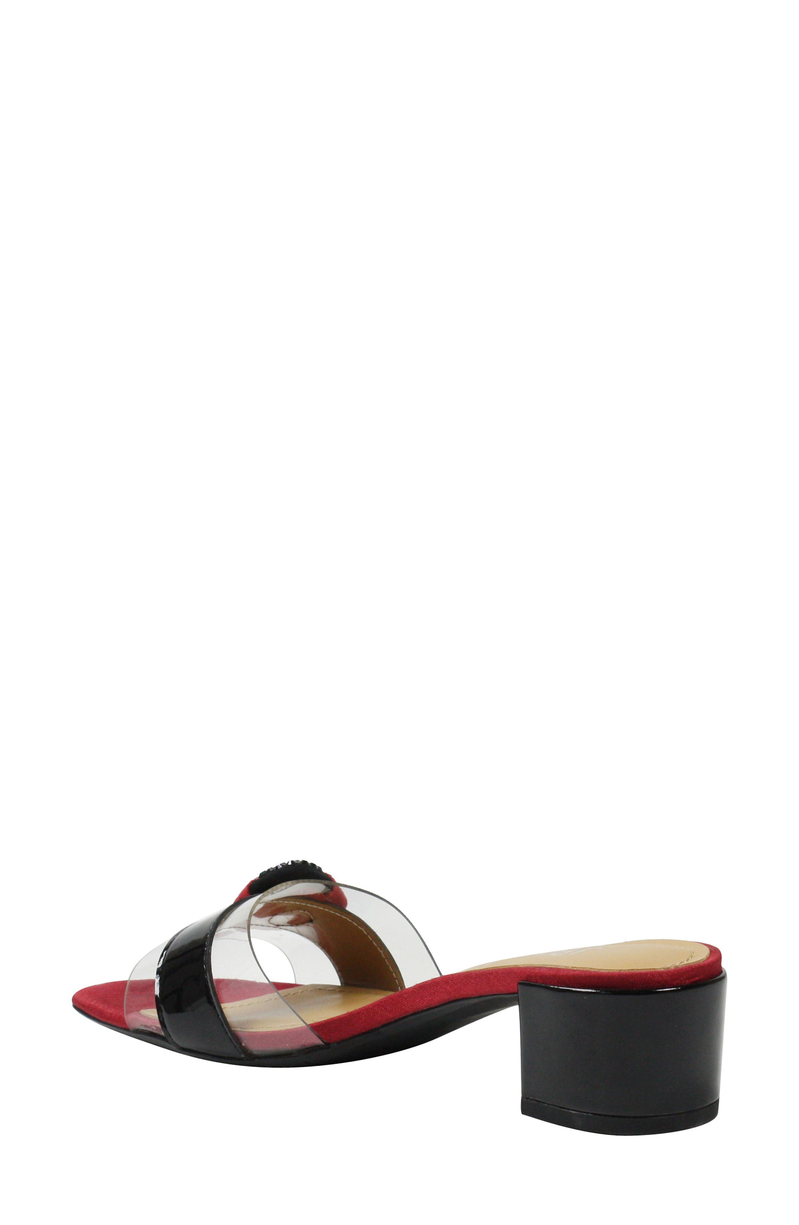 Etania Slide Sandal,                             Alternate thumbnail 2, color,                             BLACK/ RED/ CLEAR