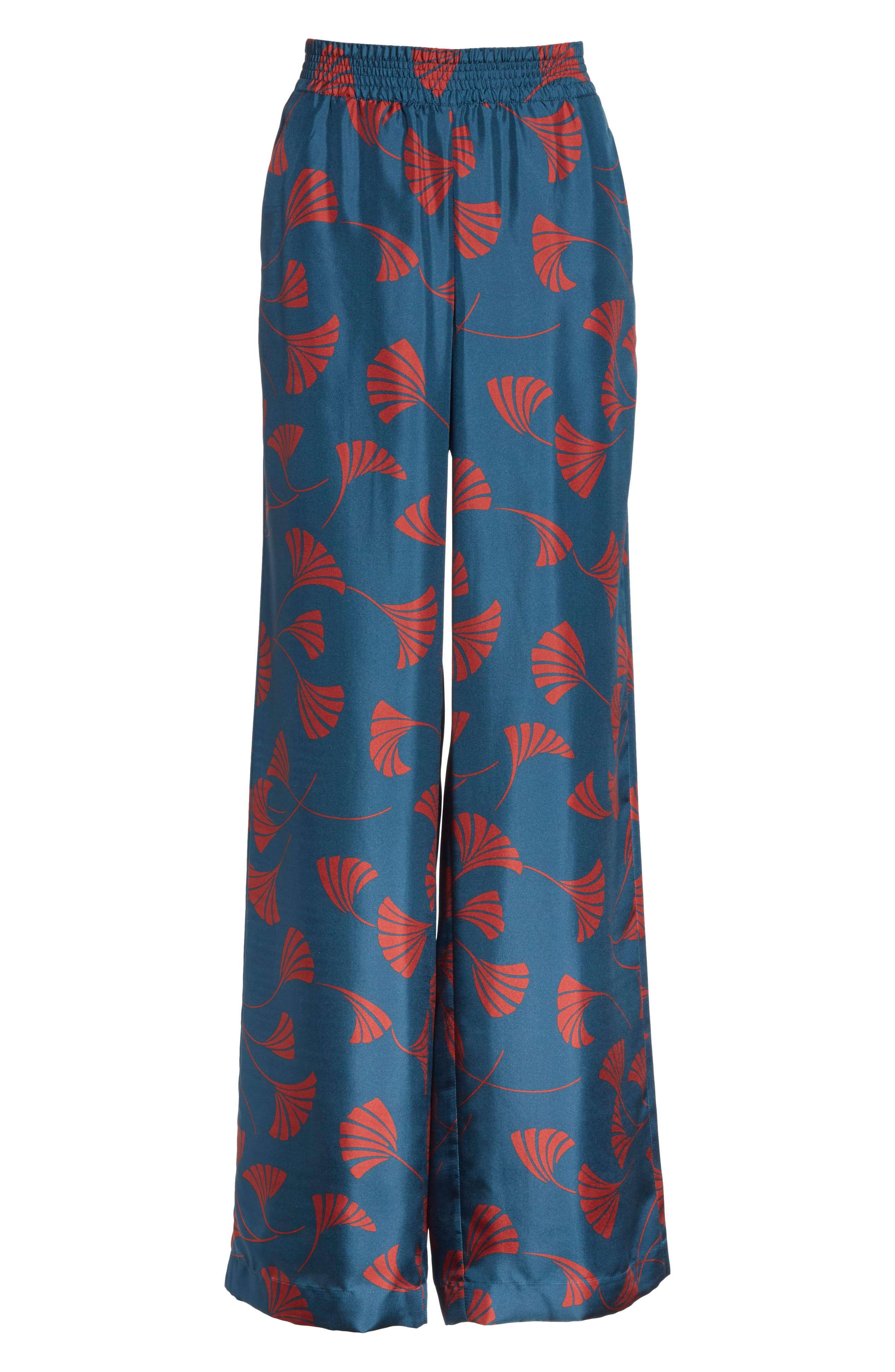 Hester Silk Wide Leg Pants,                             Alternate thumbnail 6, color,                             EMPRESS TEAL MULTI