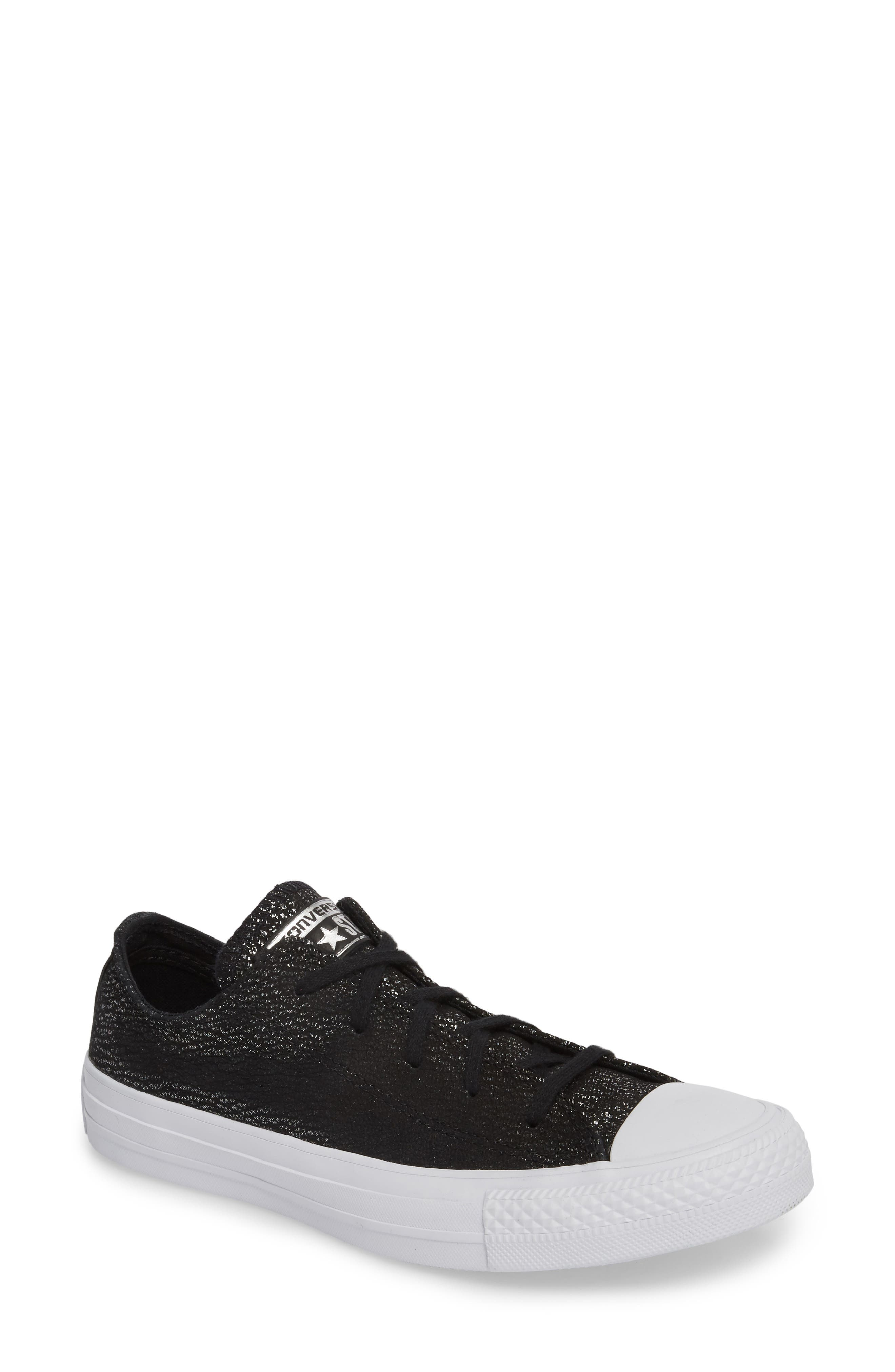 Chuck Taylor<sup>®</sup> All Star<sup>®</sup> Tipped Metallic Low Top Sneaker,                             Main thumbnail 1, color,                             001