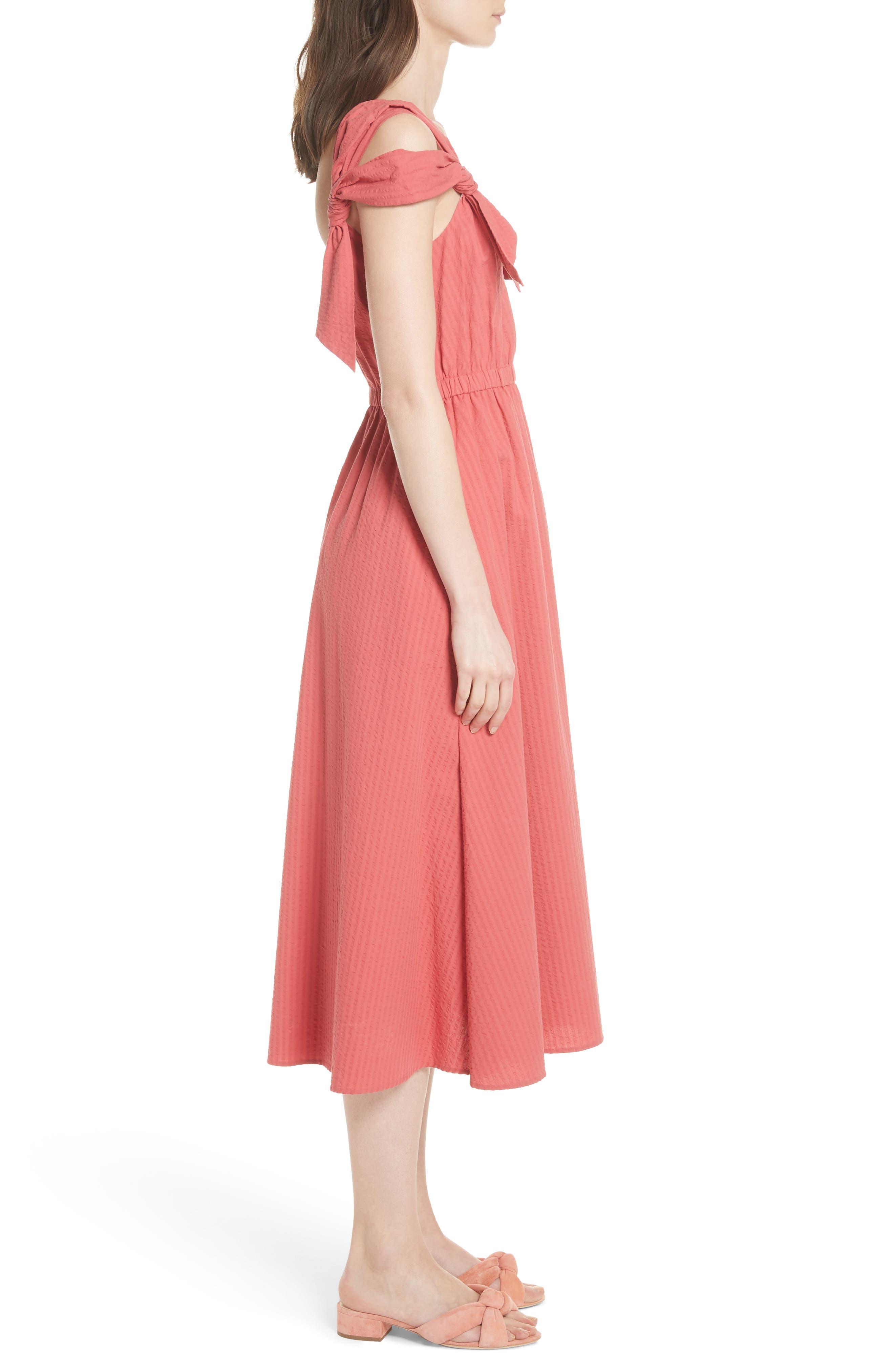 Cold Shoulder Seersucker Dress,                             Alternate thumbnail 3, color,                             612