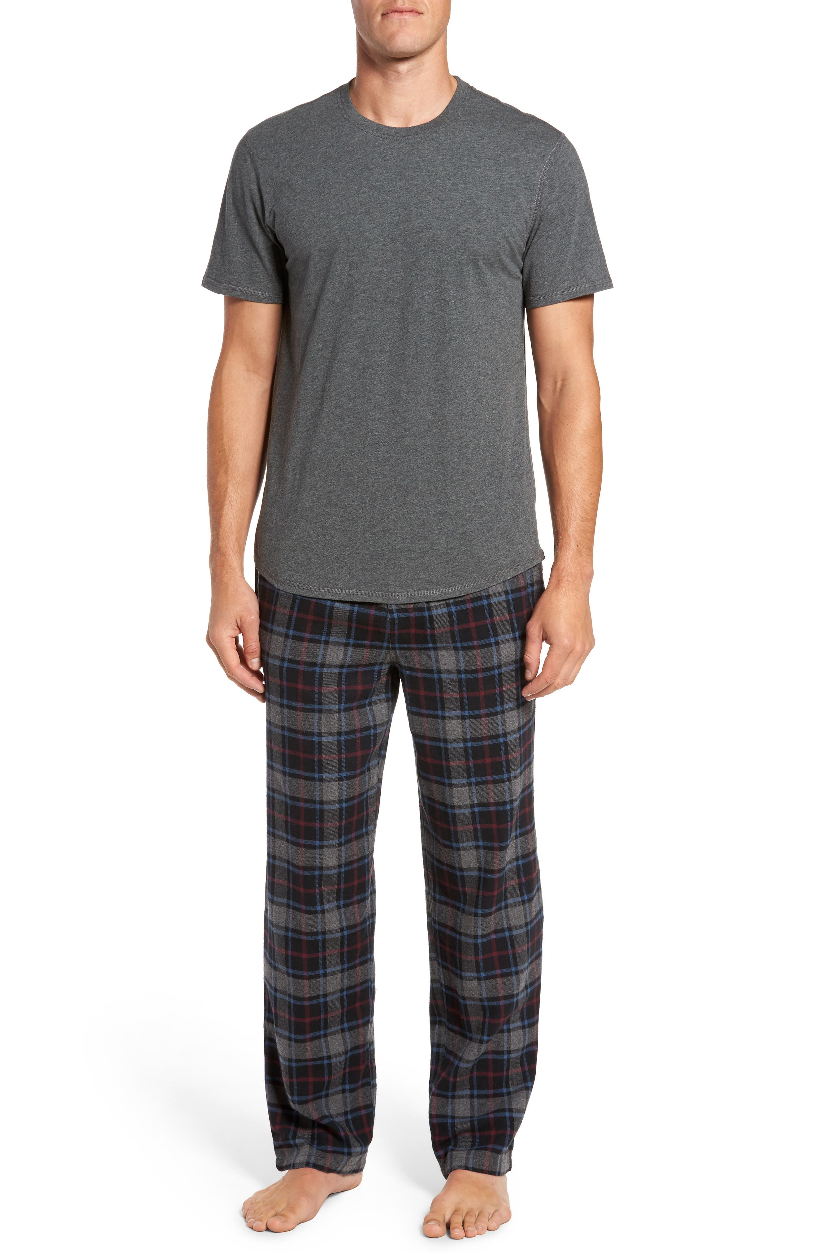 Pajama Set,                             Main thumbnail 1, color,                             BLACK ROCK- GREY PLAID
