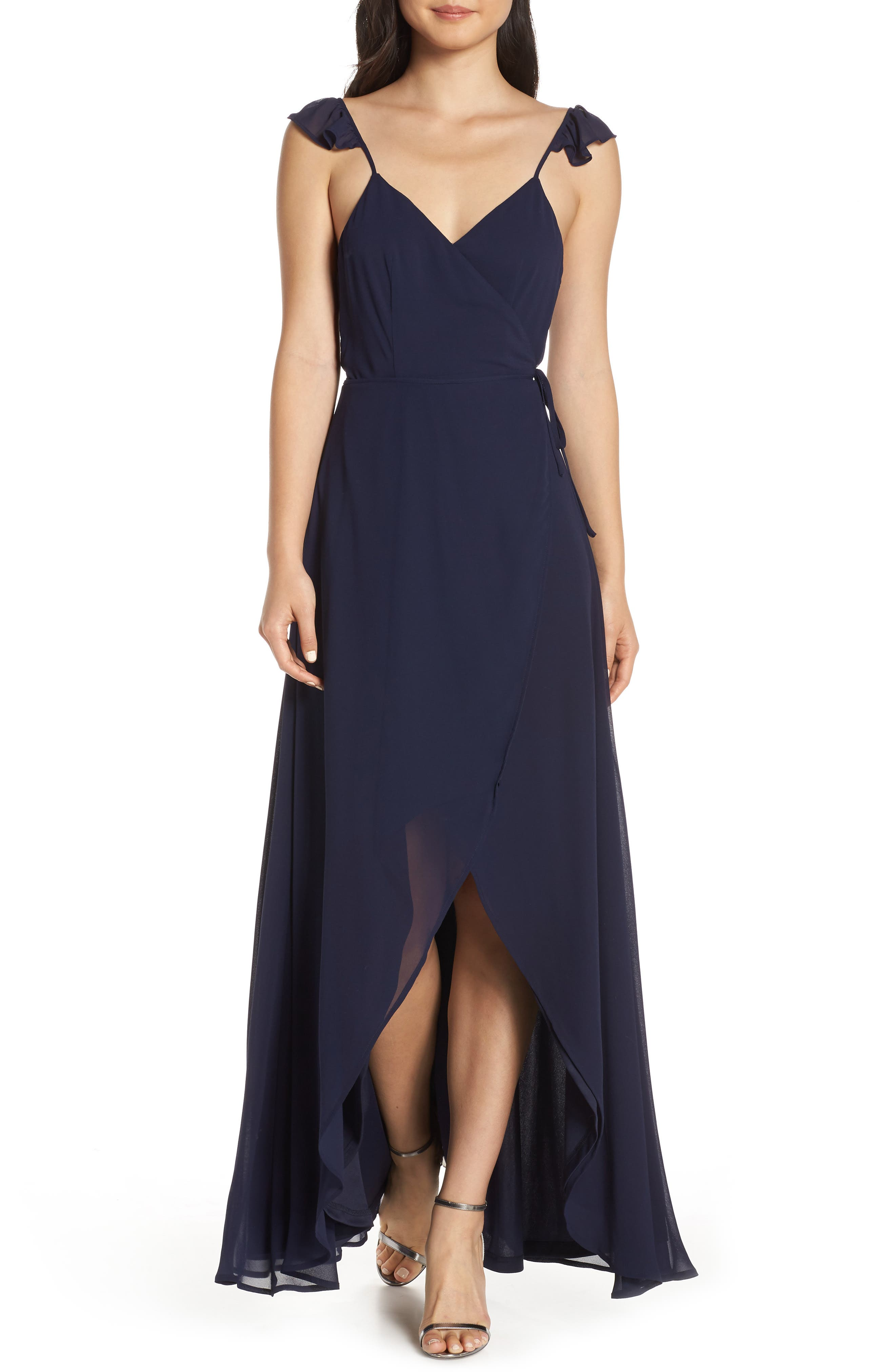LULUS Here's to Us High/Low Wrap Evening Dress, Main, color, NAVY
