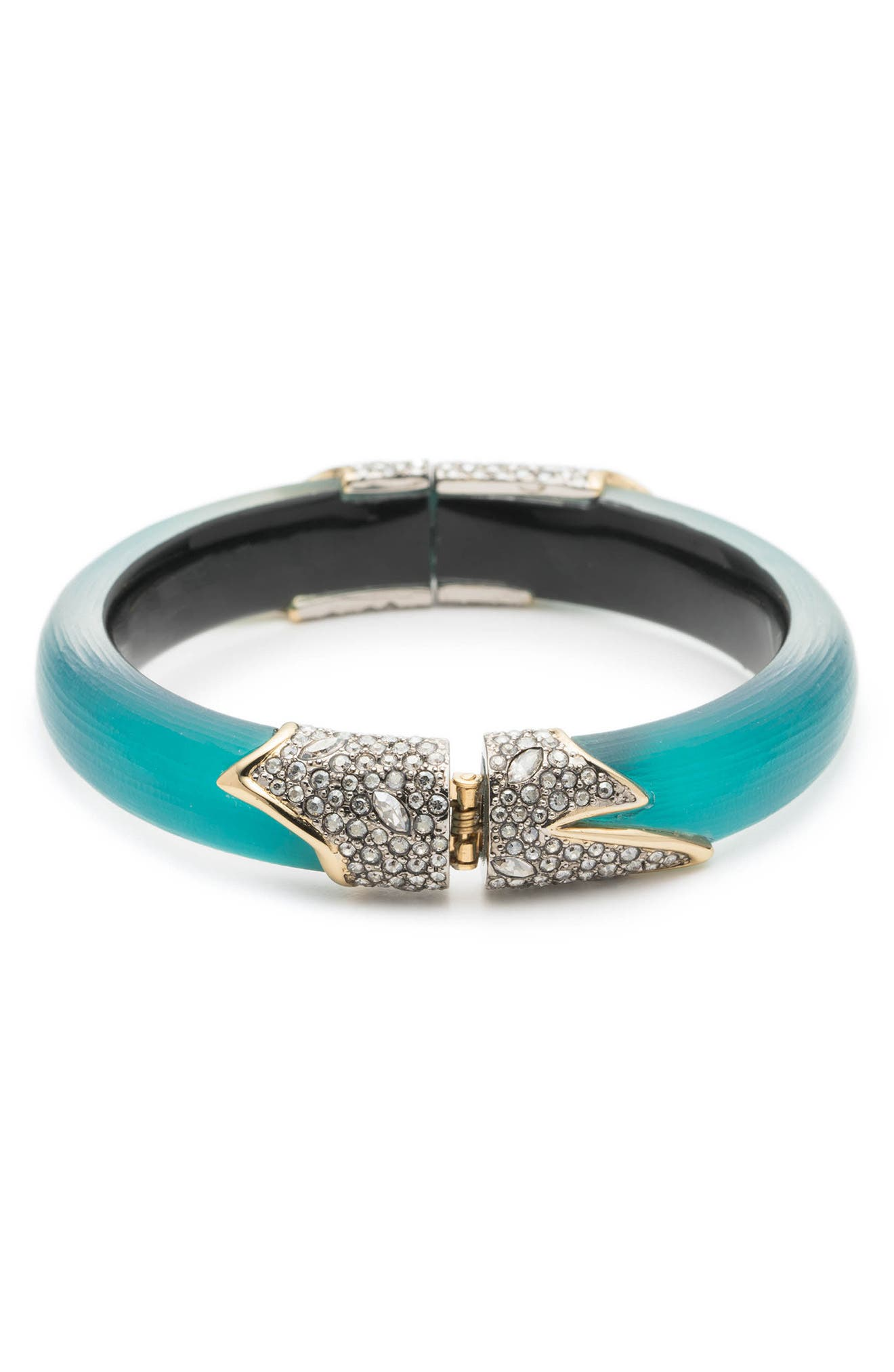Crystal Encrusted Feather Hinge Bracelet,                             Alternate thumbnail 3, color,                             400