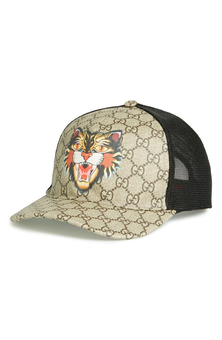 Gucci GG Supreme Angry Cat Trucker Hat  07769b791c79