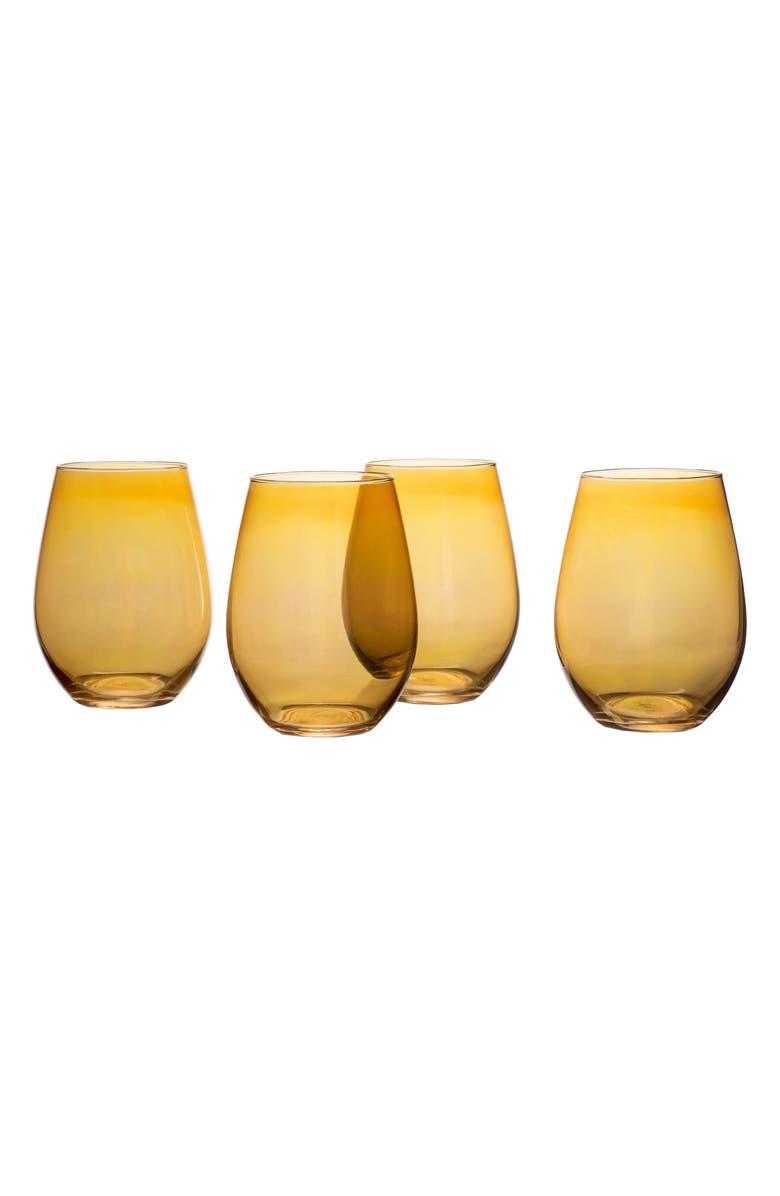 Amber Luster Set of 4 Stemless Wine Glasses