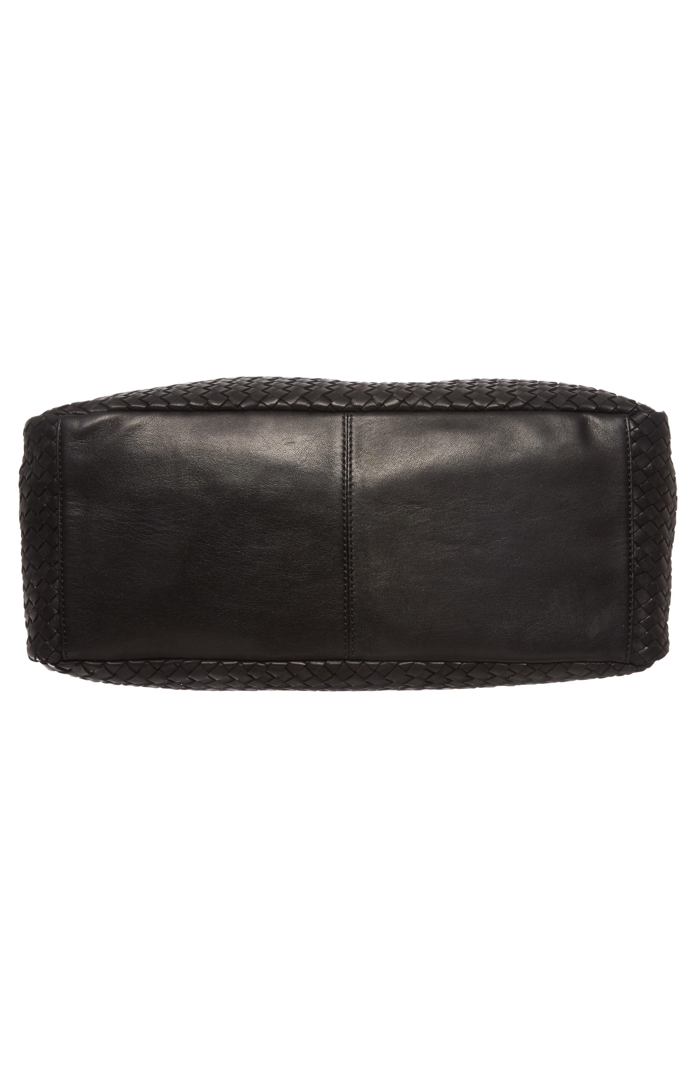 Large Jo Leather Hobo,                             Alternate thumbnail 6, color,                             BLACK