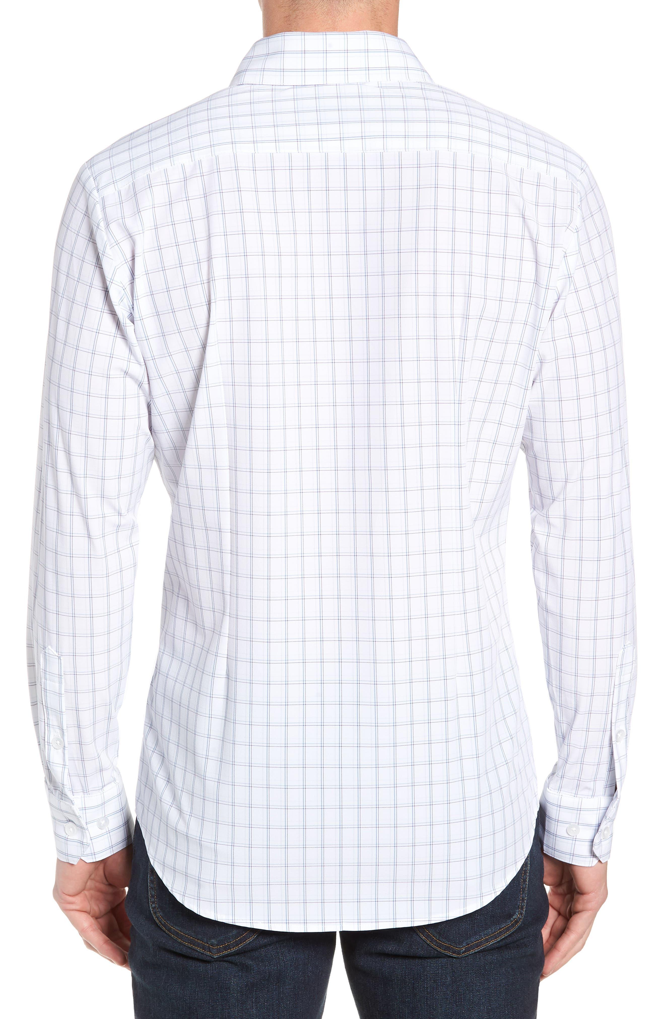 Sanders Slim Fit Check Performance Sport Shirt,                             Alternate thumbnail 3, color,                             WHITE
