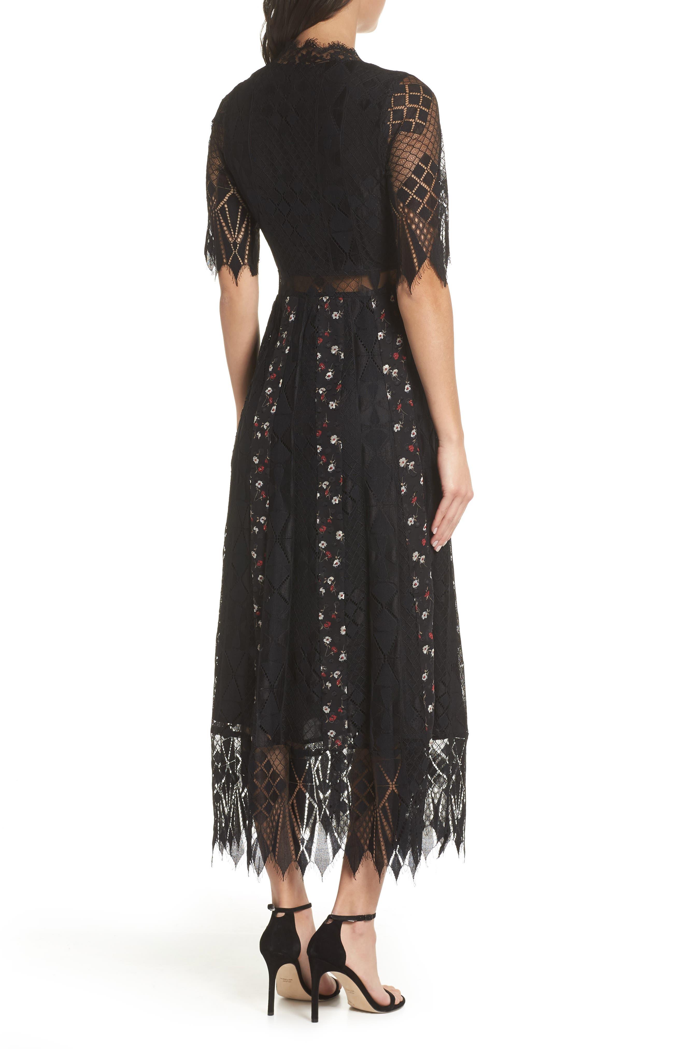 Josefine Lace & Clip Dot Tea Length Dress,                             Alternate thumbnail 2, color,                             BLACK MULTI