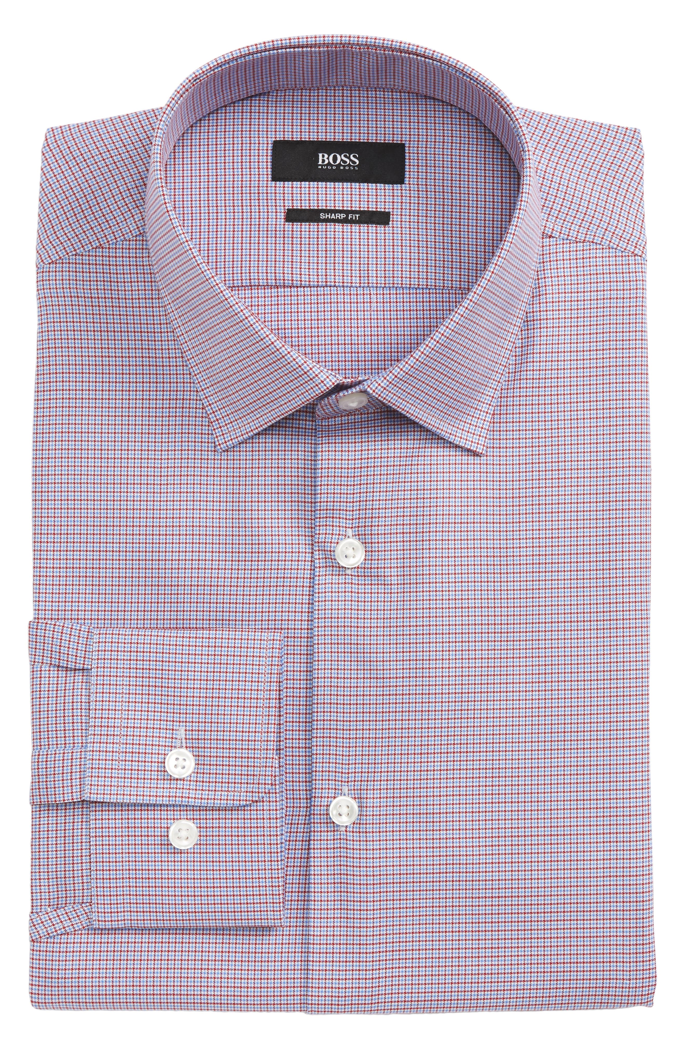 Marley Sharp Fit Microcheck Dress Shirt,                         Main,                         color, 611