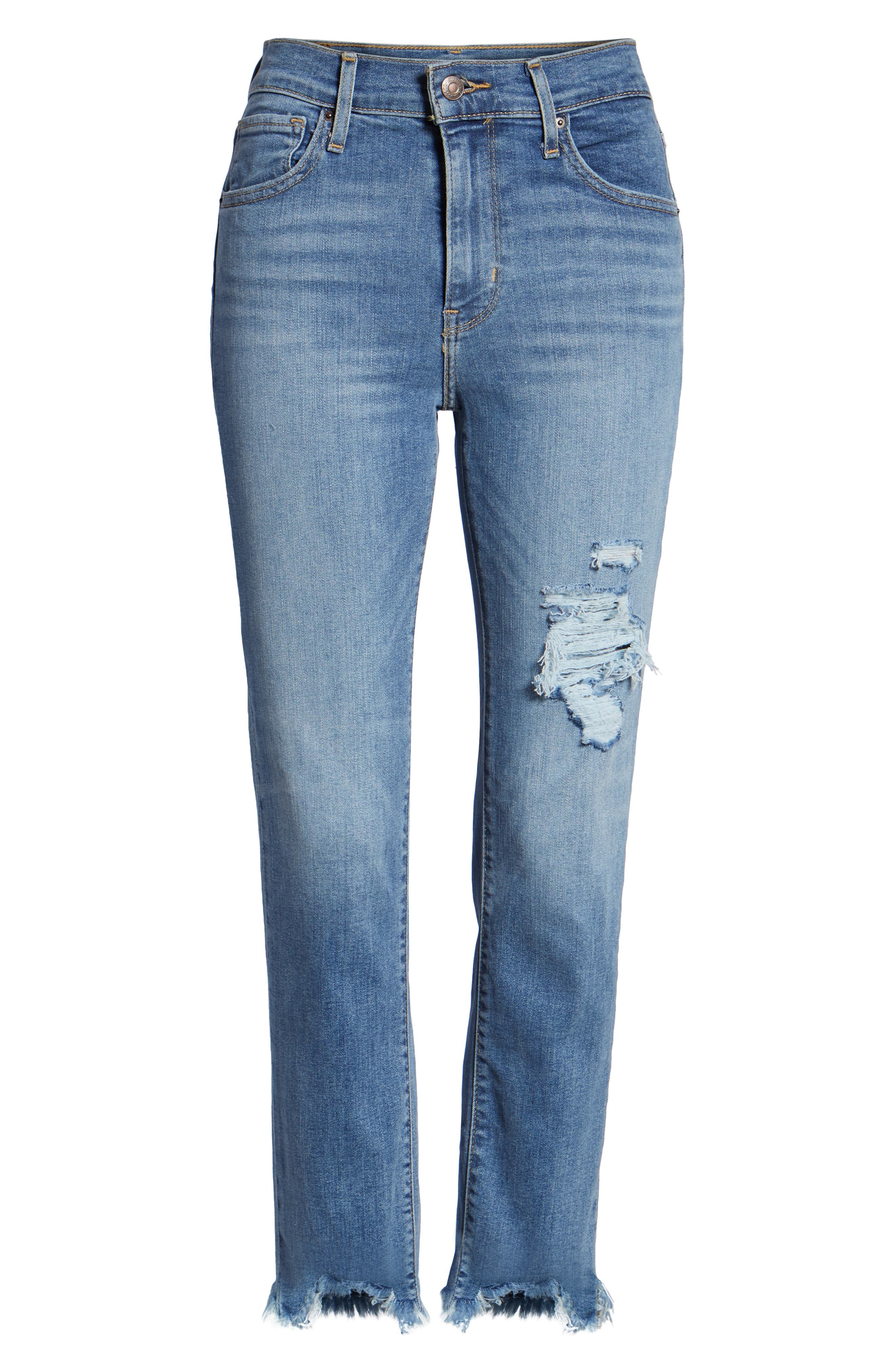 724<sup>™</sup> Ripped High Waist Raw Edge Crop Jeans,                             Alternate thumbnail 6, color,                             420