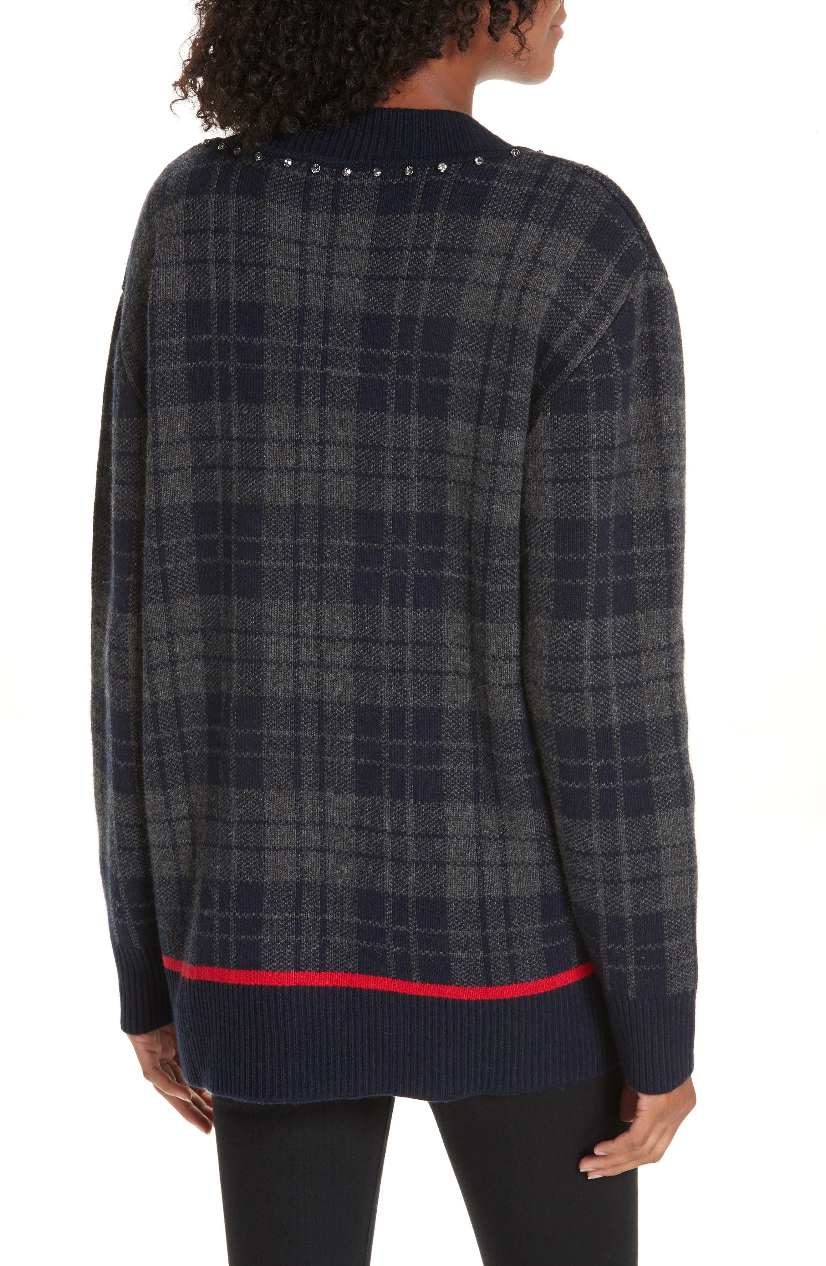 Embellished Plaid Sweater,                             Alternate thumbnail 2, color,                             405