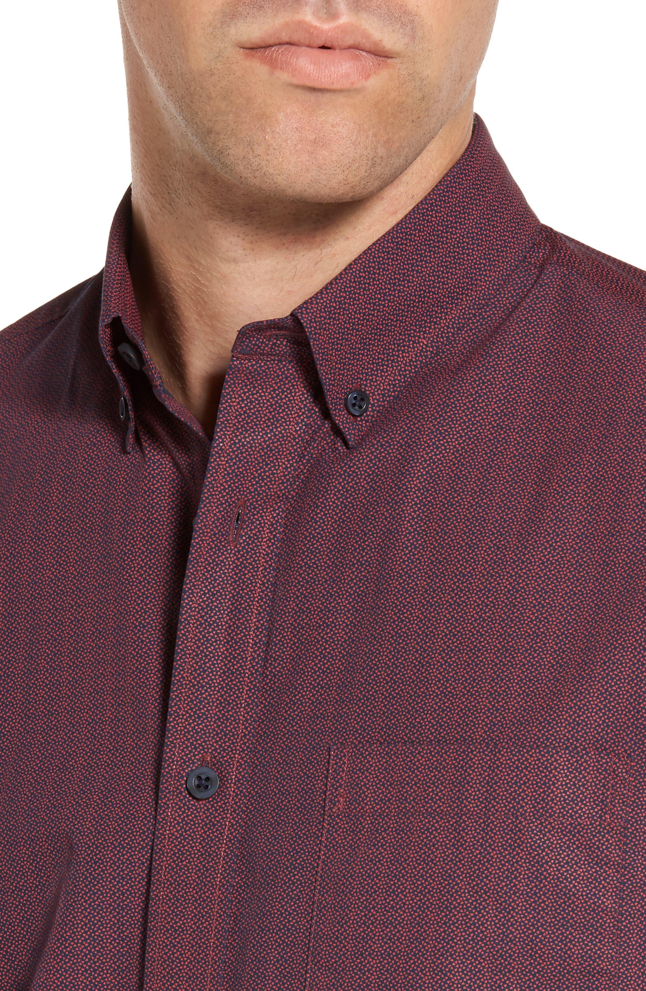 Slim Fit Print Sport Shirt,                             Alternate thumbnail 4, color,                             601