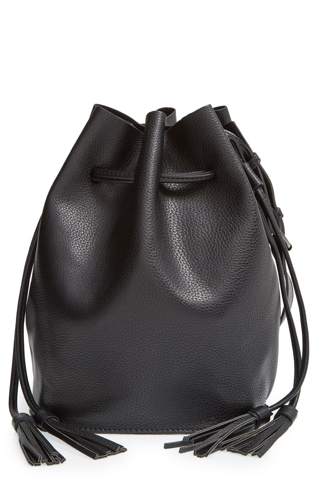 STREET LEVEL,                             Faux Leather Bucket Bag,                             Main thumbnail 1, color,                             001
