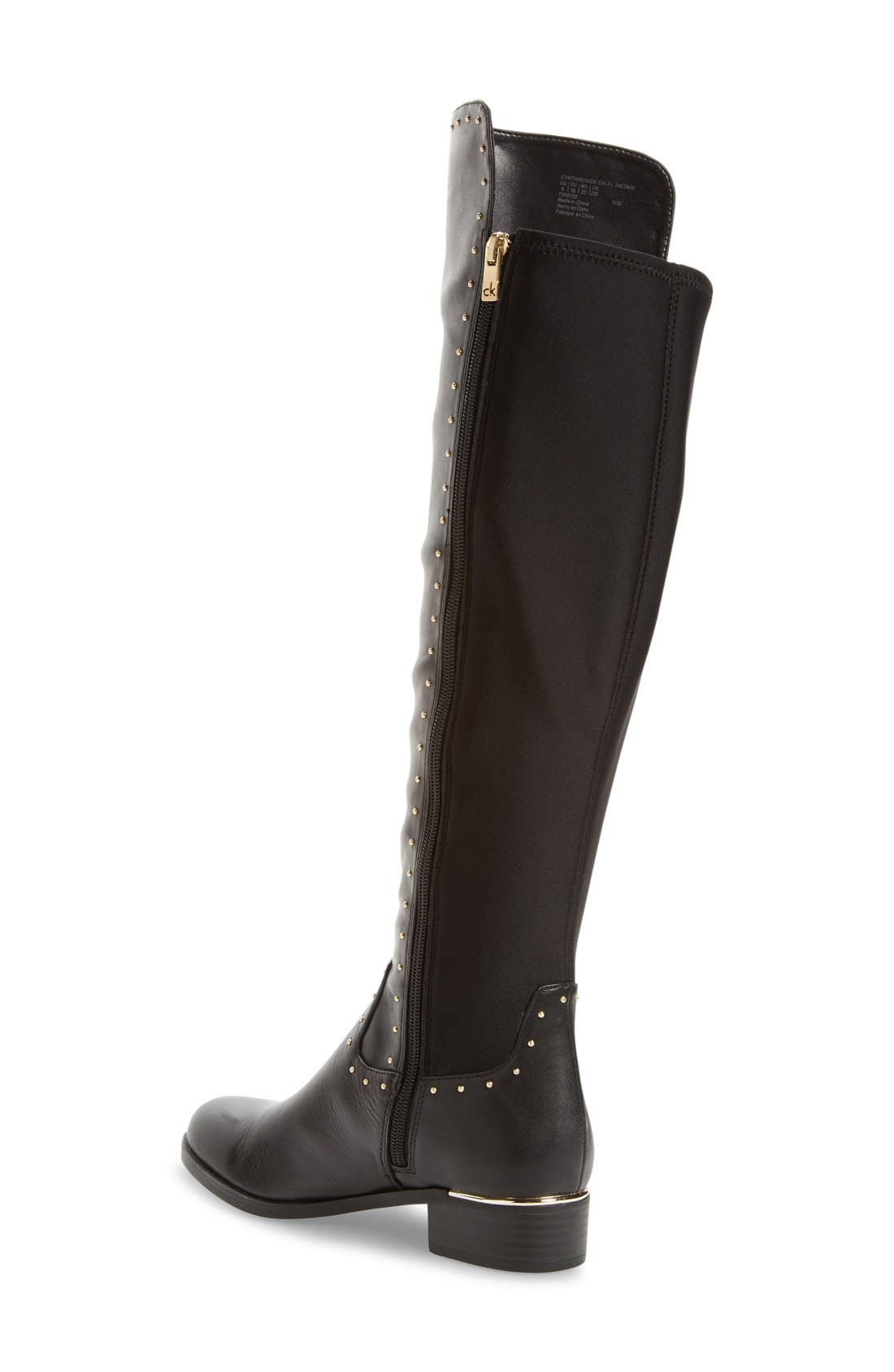 CALVIN KLEIN,                             Cynthia Studded Riding Boot,                             Alternate thumbnail 4, color,                             001