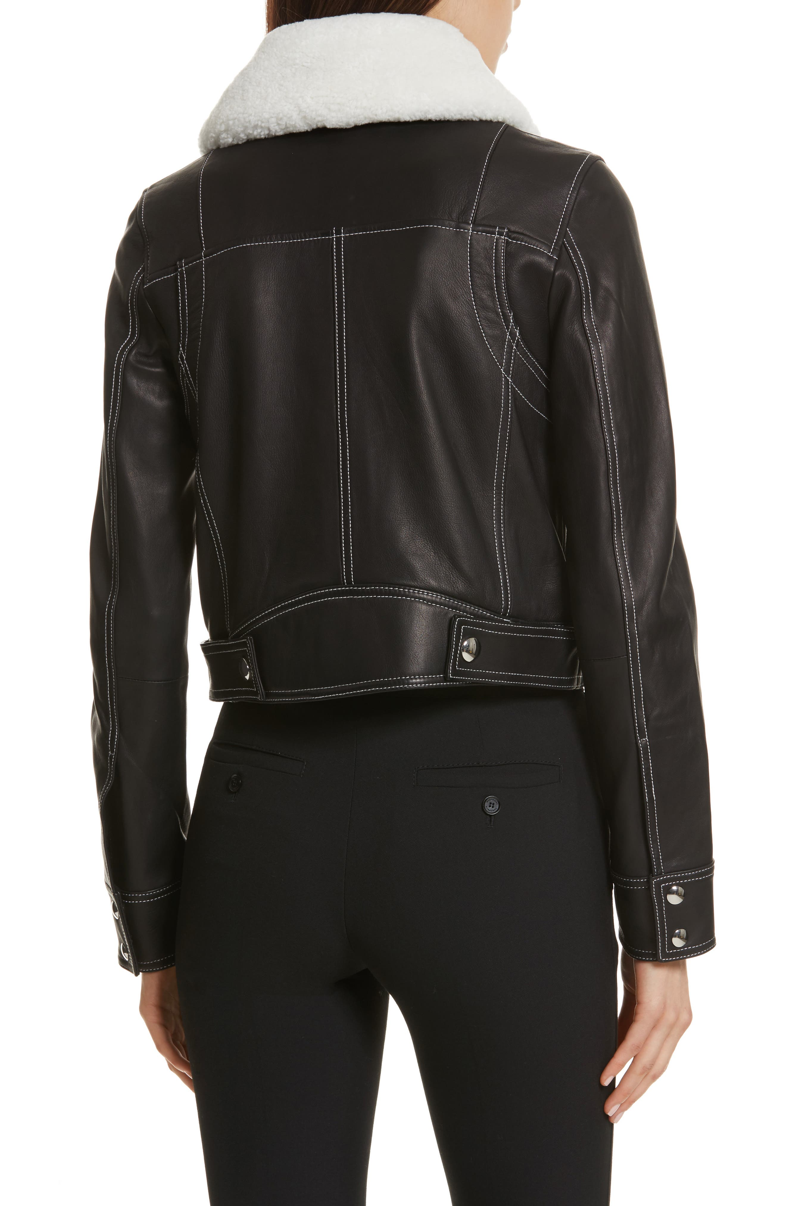GREY Jason Wu Shrunken Leather Jacket with Removable Genuine Shearling Collar,                             Alternate thumbnail 2, color,                             009