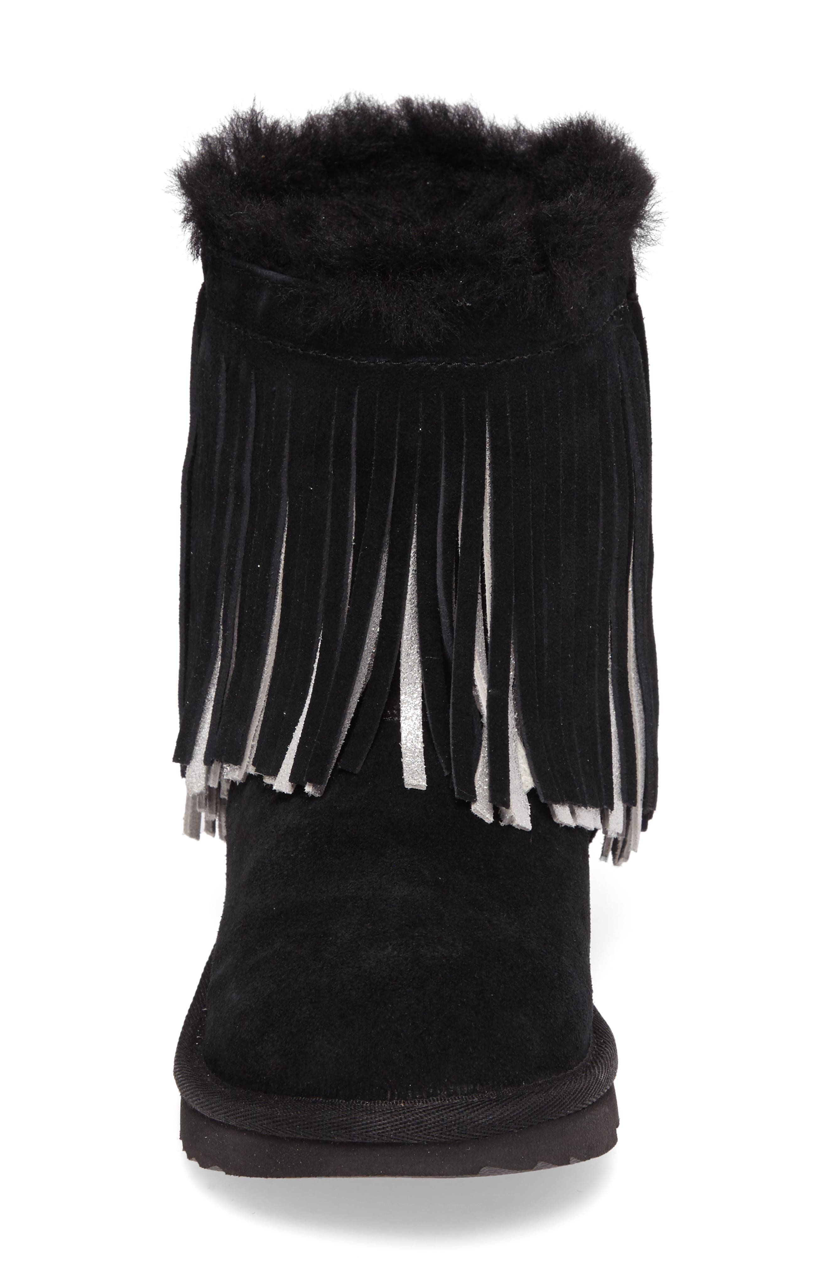 Classic II Short Fringe Water Resistant Genuine Shearling Boot,                             Alternate thumbnail 4, color,                             001