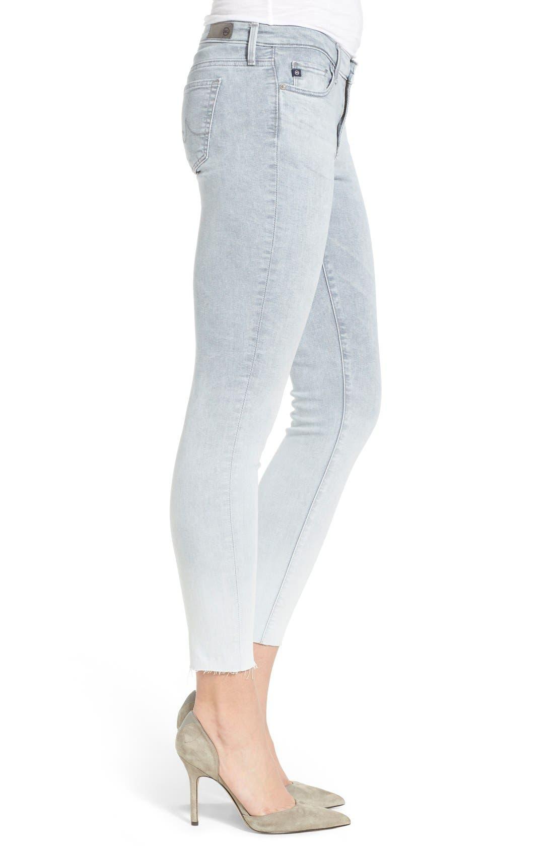 'The Legging' Raw Edge Ankle Skinny Jeans,                             Alternate thumbnail 4, color,