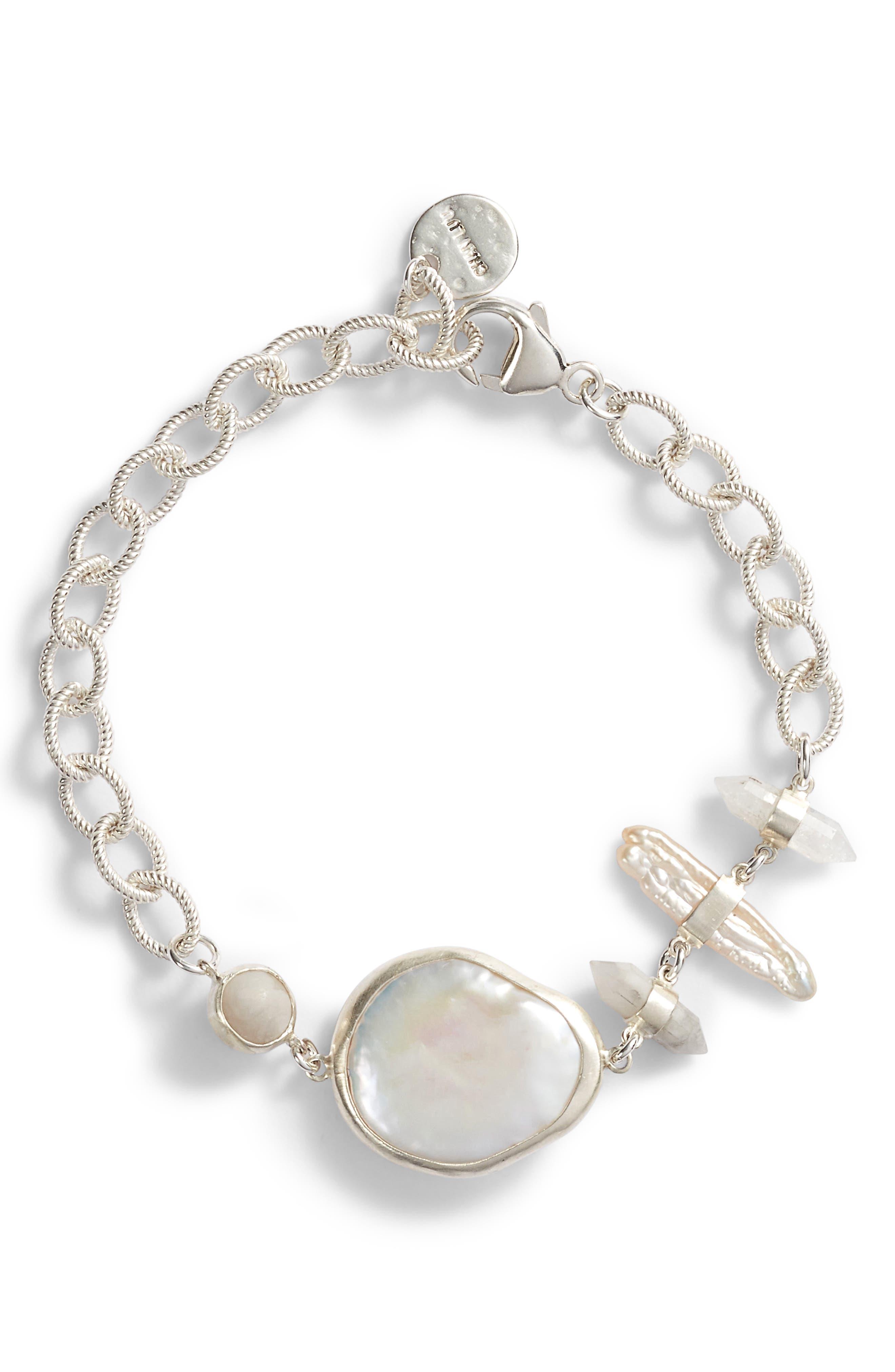 White Pearl Bracelet,                         Main,                         color, 100
