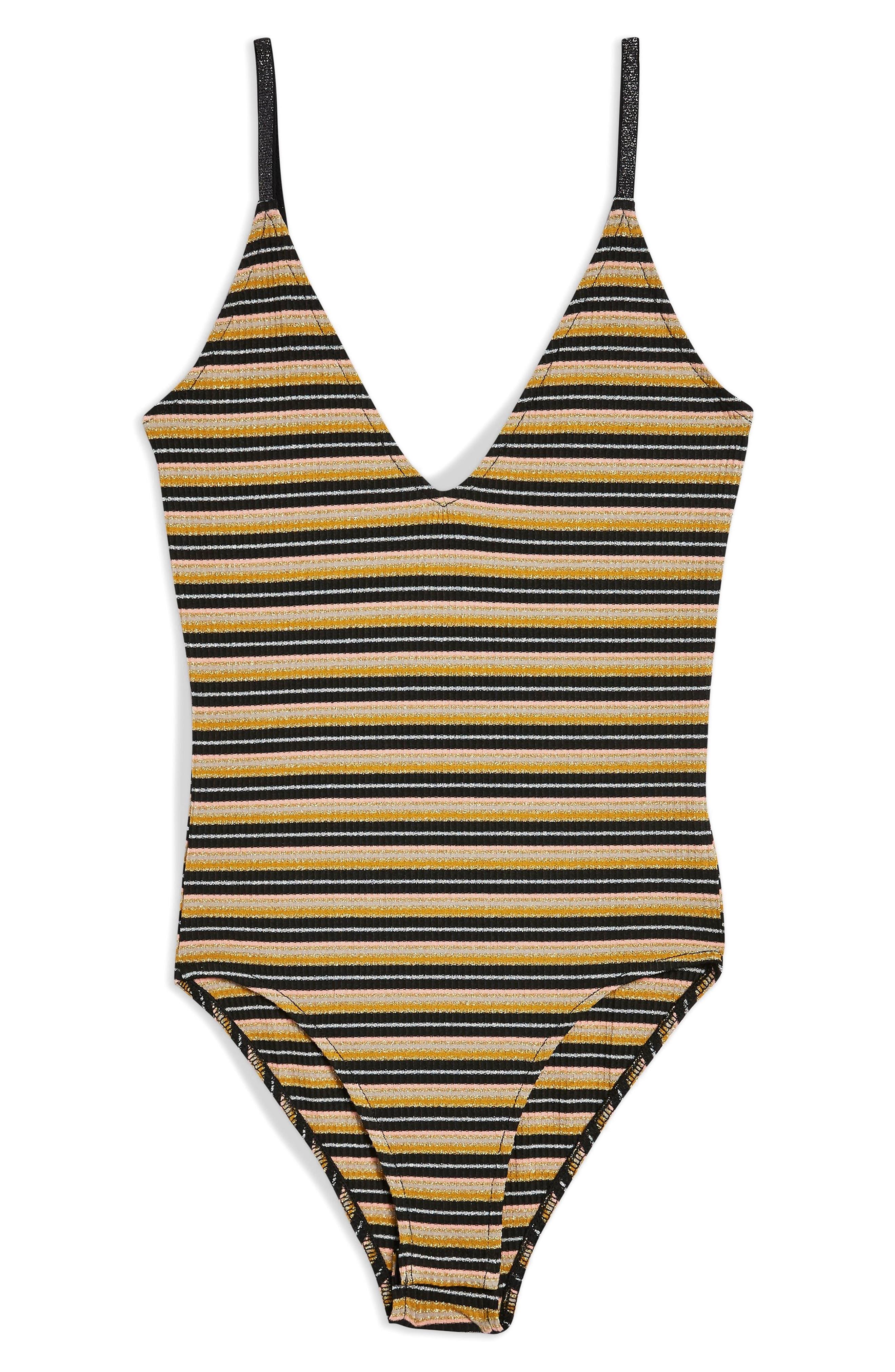 Stripe Bodysuit,                             Alternate thumbnail 5, color,                             BLACK